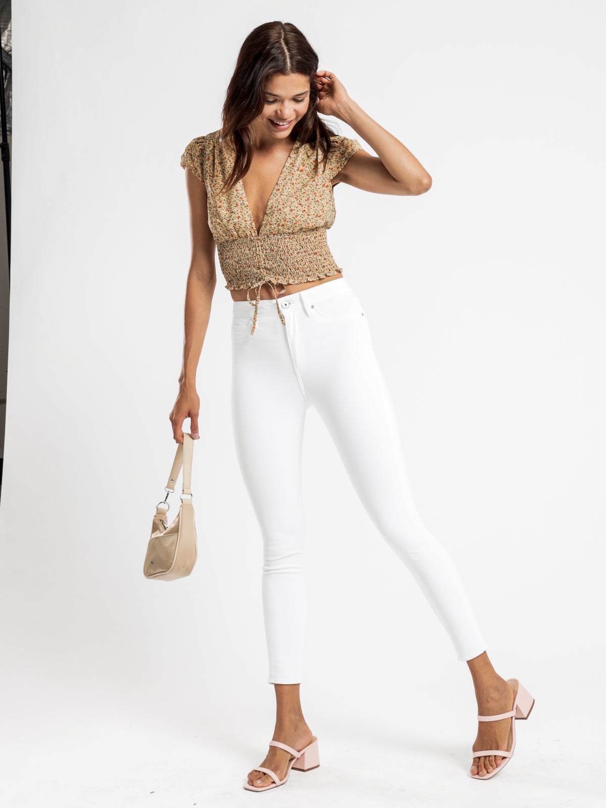 Lisa High-Rise Skinny Ankle-Hugger Jeans in Optic White Denim