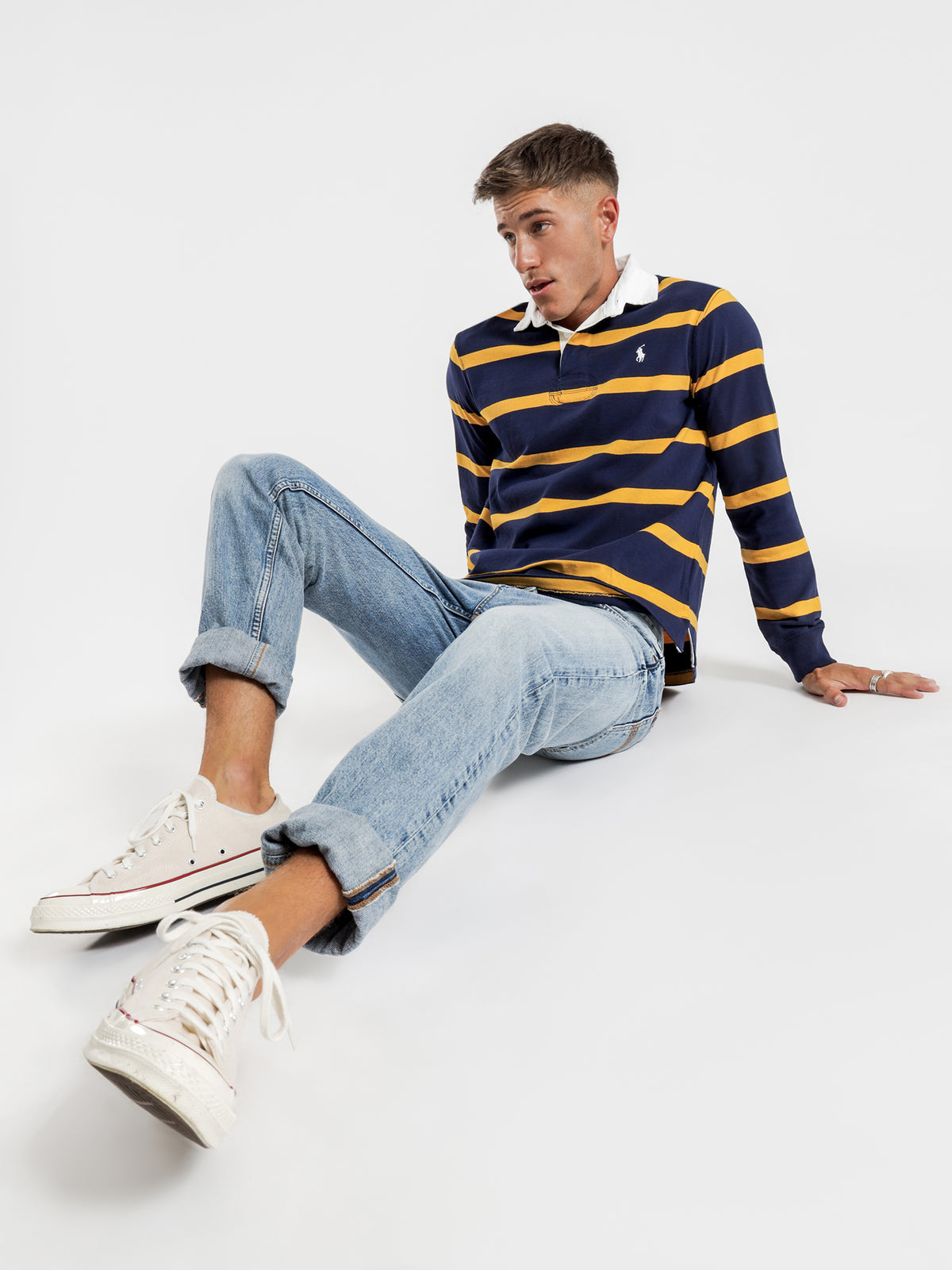 Narrow Stripe Rugby Shirt in Newport Navy & Gold Bugle Stripe