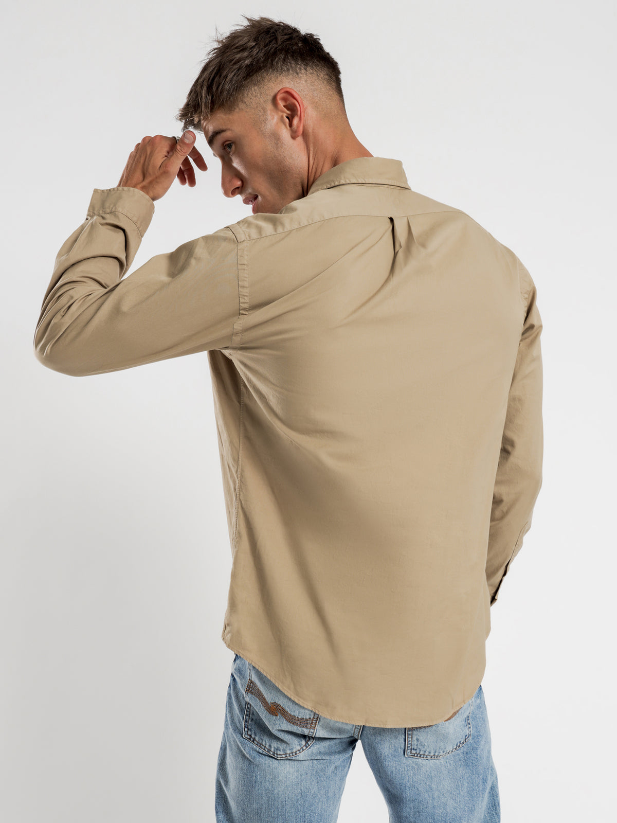 Custom Fit Shirt in Medium Beige Feather Weight Twill