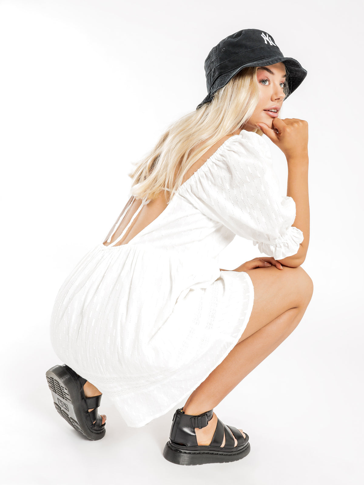 Poppy Smock Dress in Off White