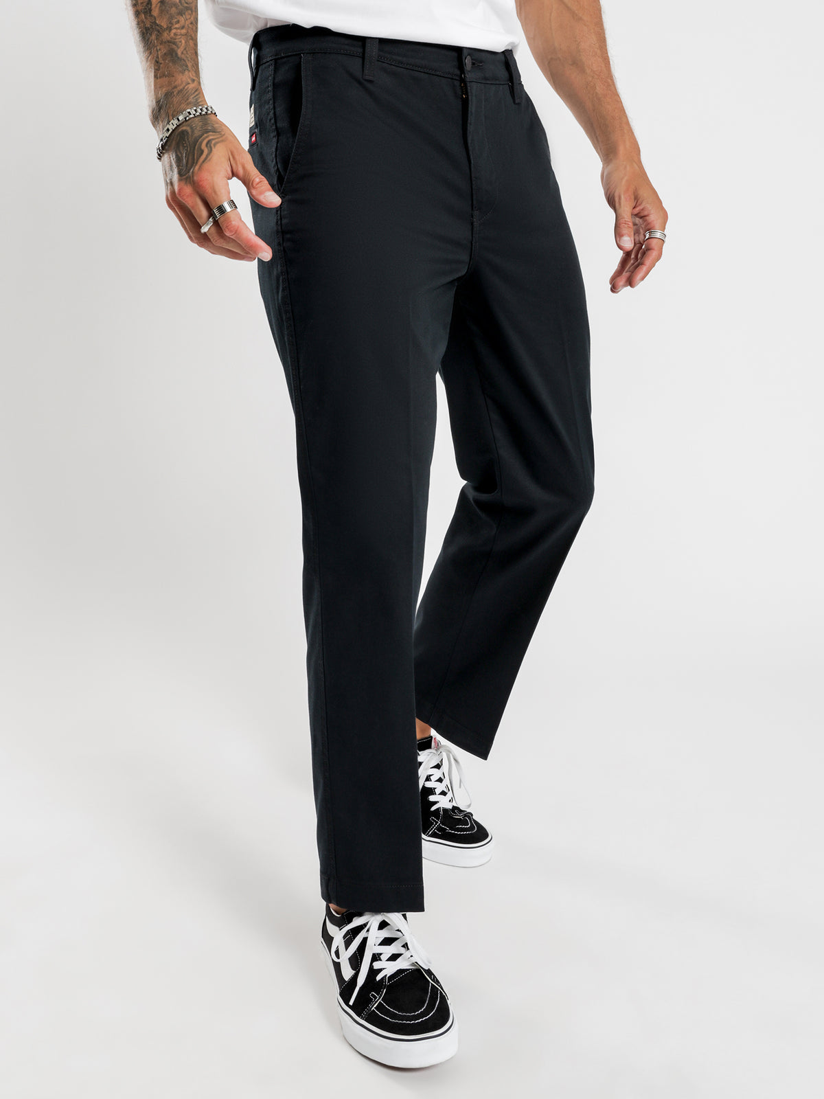 XX Chino Straight Cropped Pants in Black