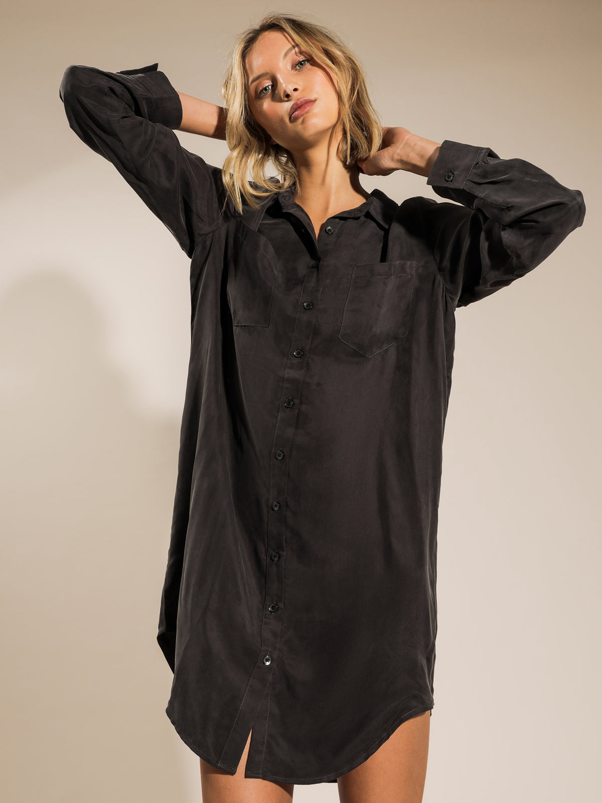 Longline Cupro Shirt Dress in Coal
