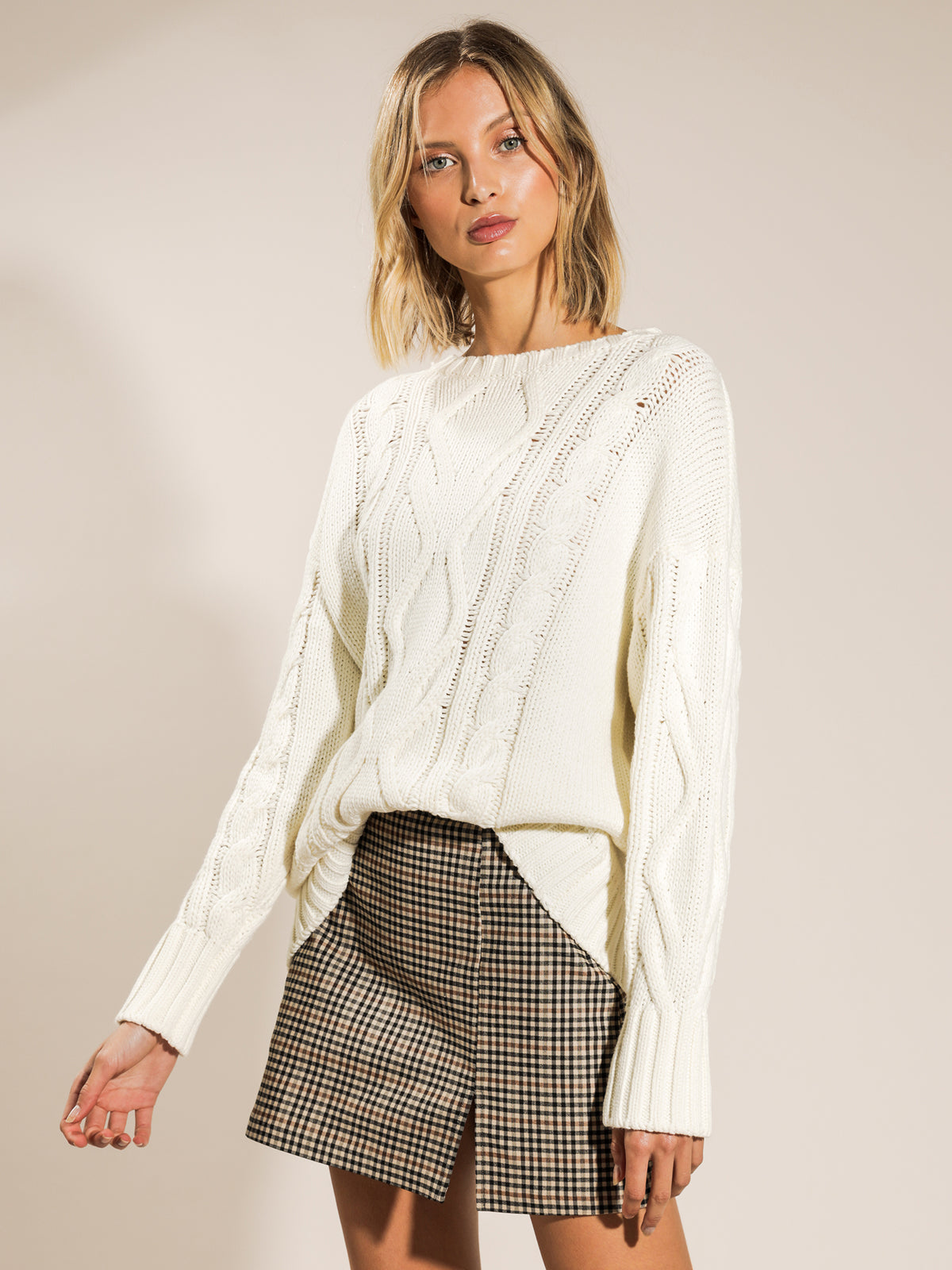 Rylee Long Line Cable Knit in Off White