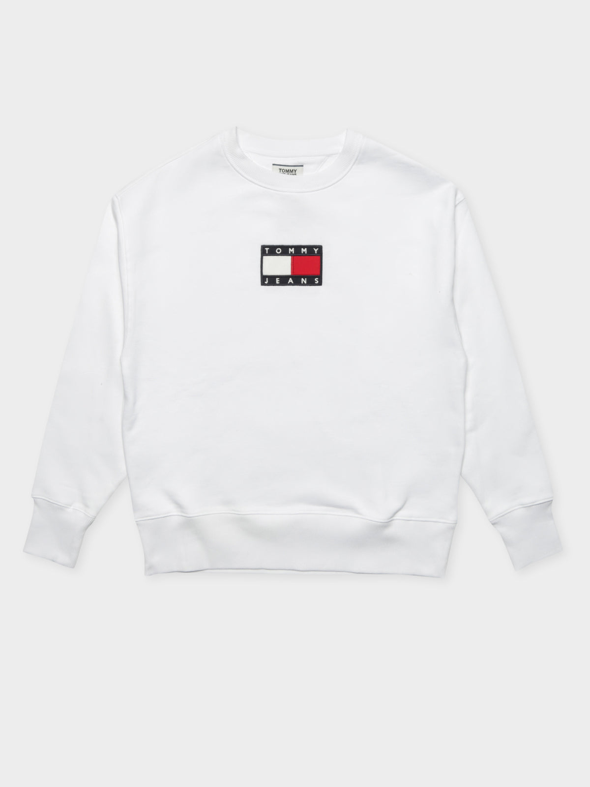 TJM Small Flag Crew Jumper in White