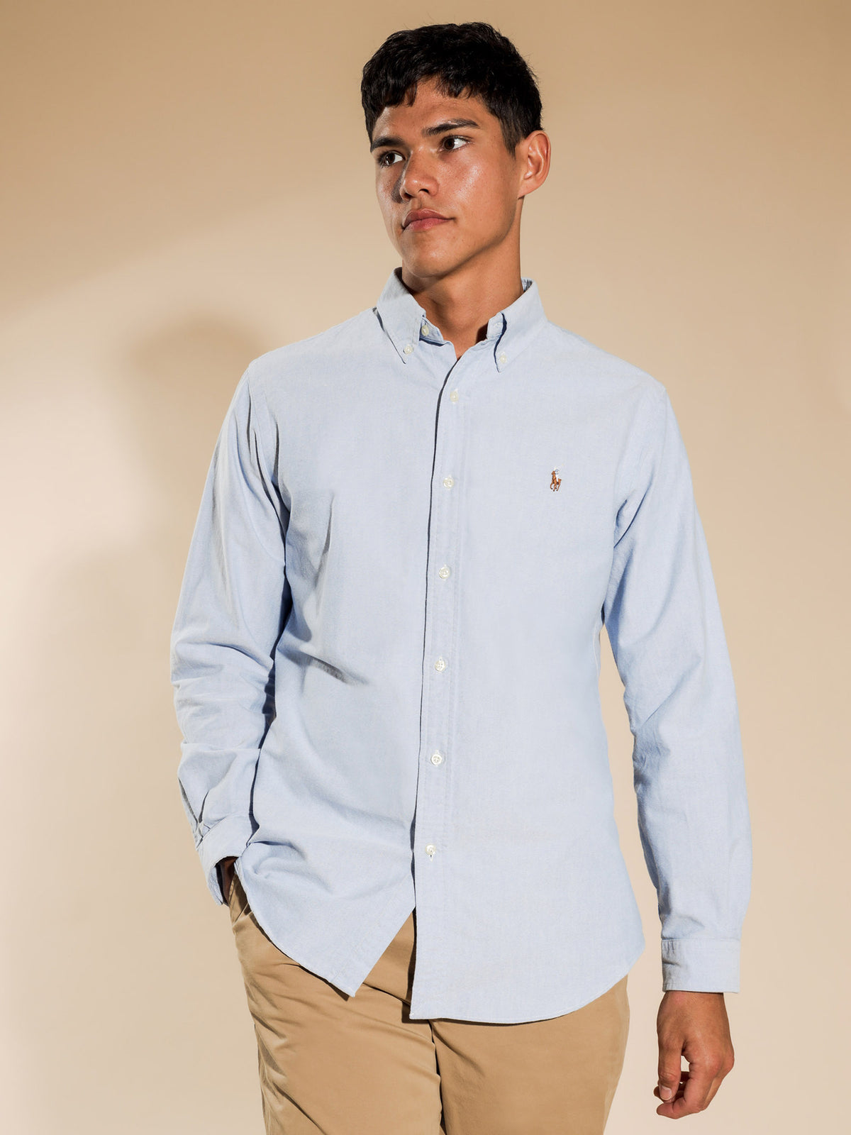 Oxford Long Sleeve T-Shirt in Blue