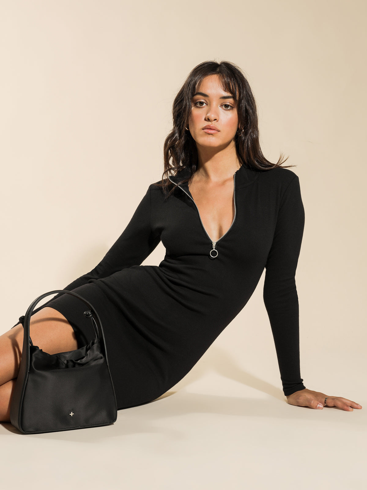 Penny Rib Long Sleeve Zip Dress in Black