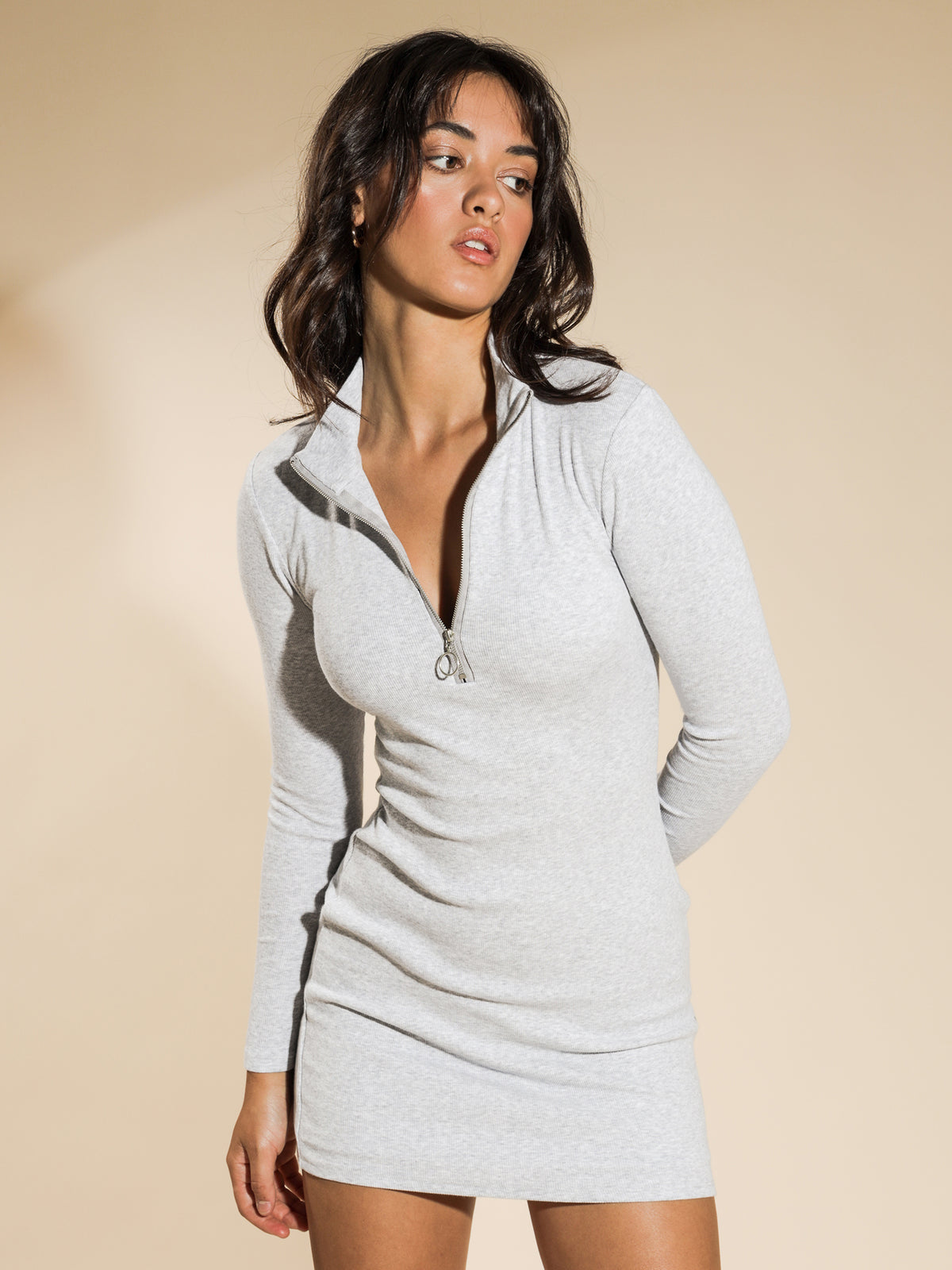Penny Rib Long Sleeve Zip Dress in Grey Marle
