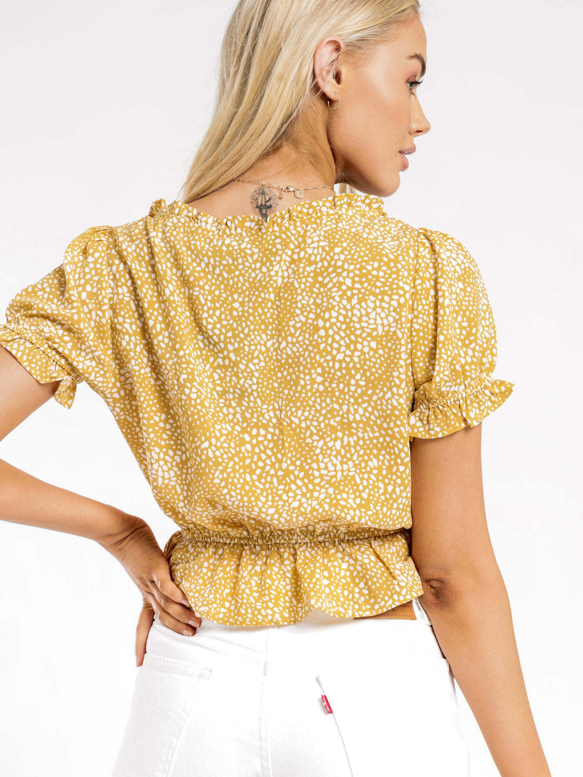 Cosette Elastic Top in Yellow Spot
