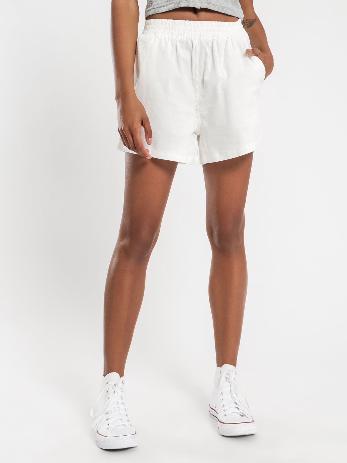 Stock Cord Shorts in White