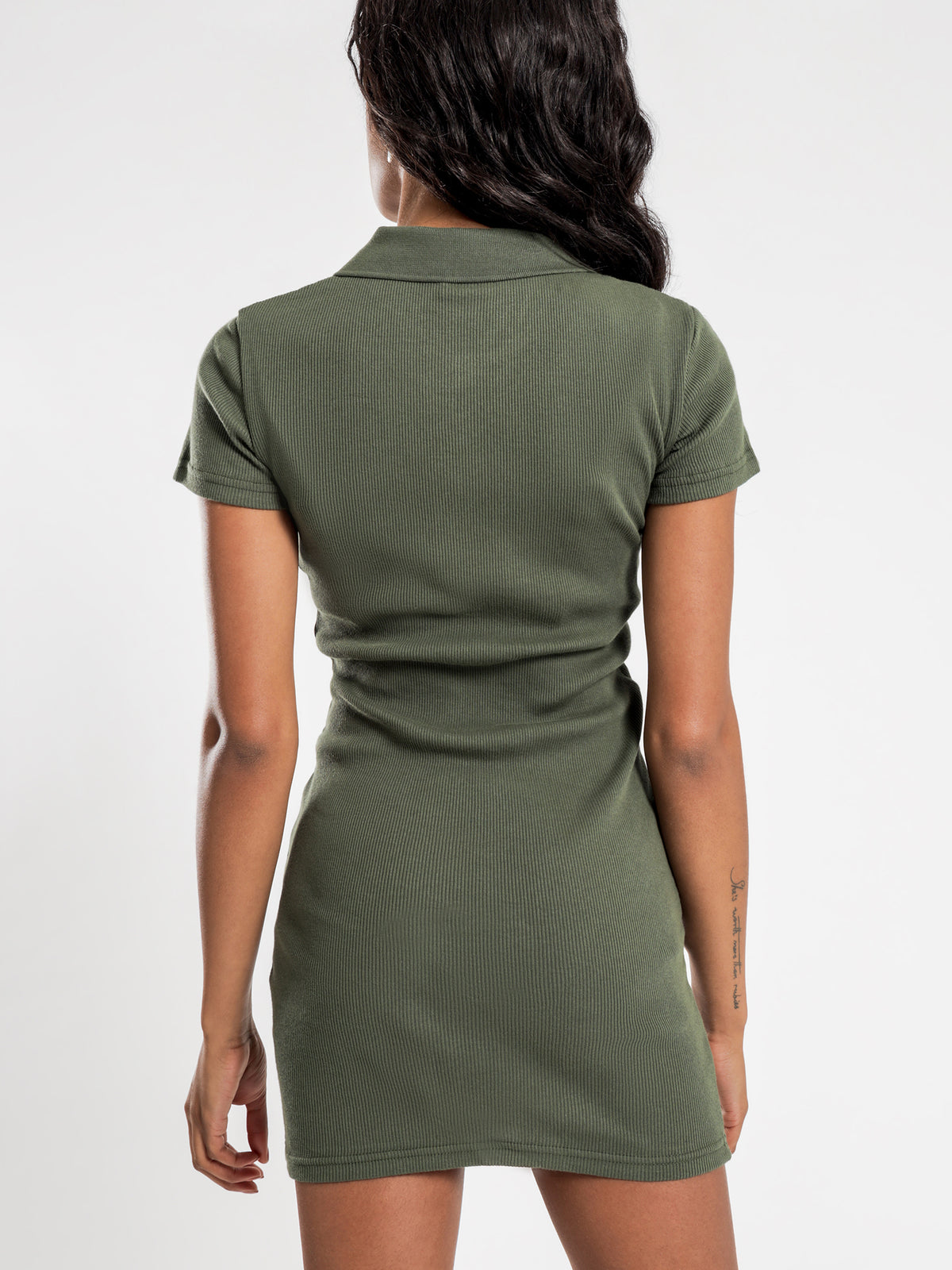 Markham Rib Dress in Flight Green