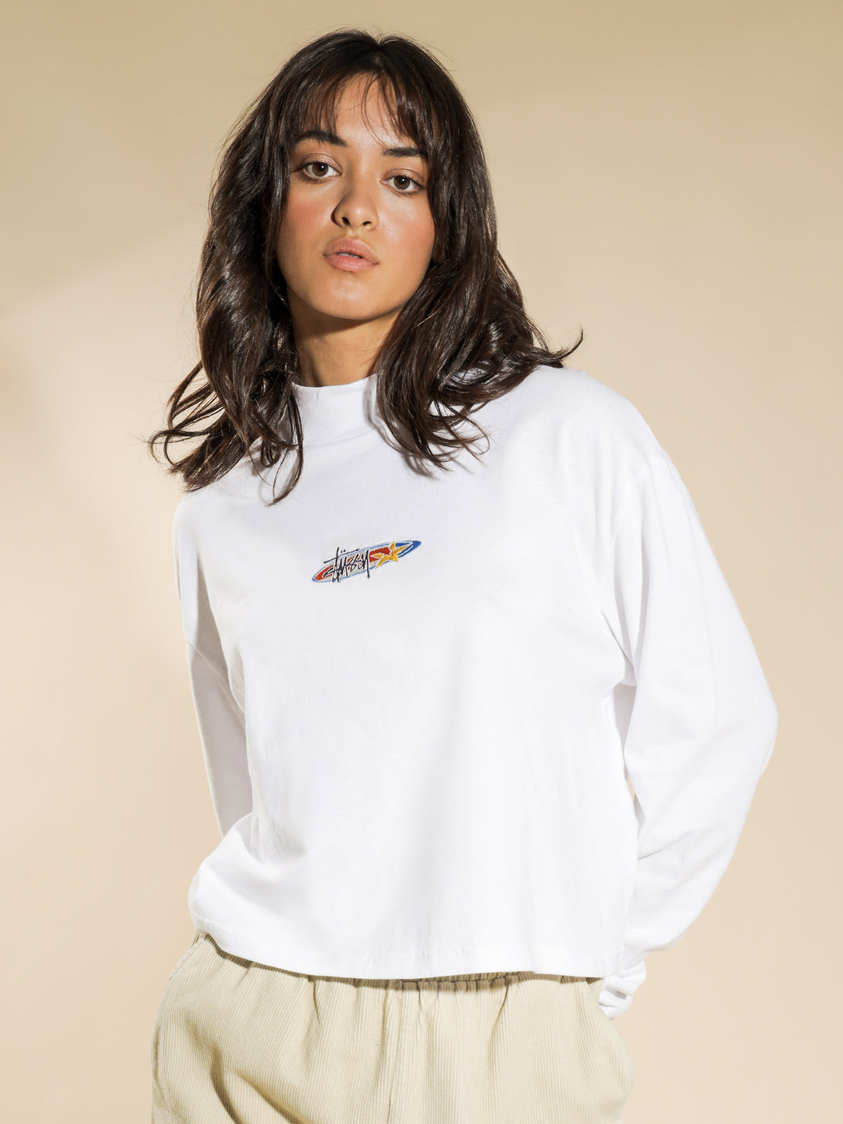 Maui Mock Neck Long Sleeve T-Shirt in White