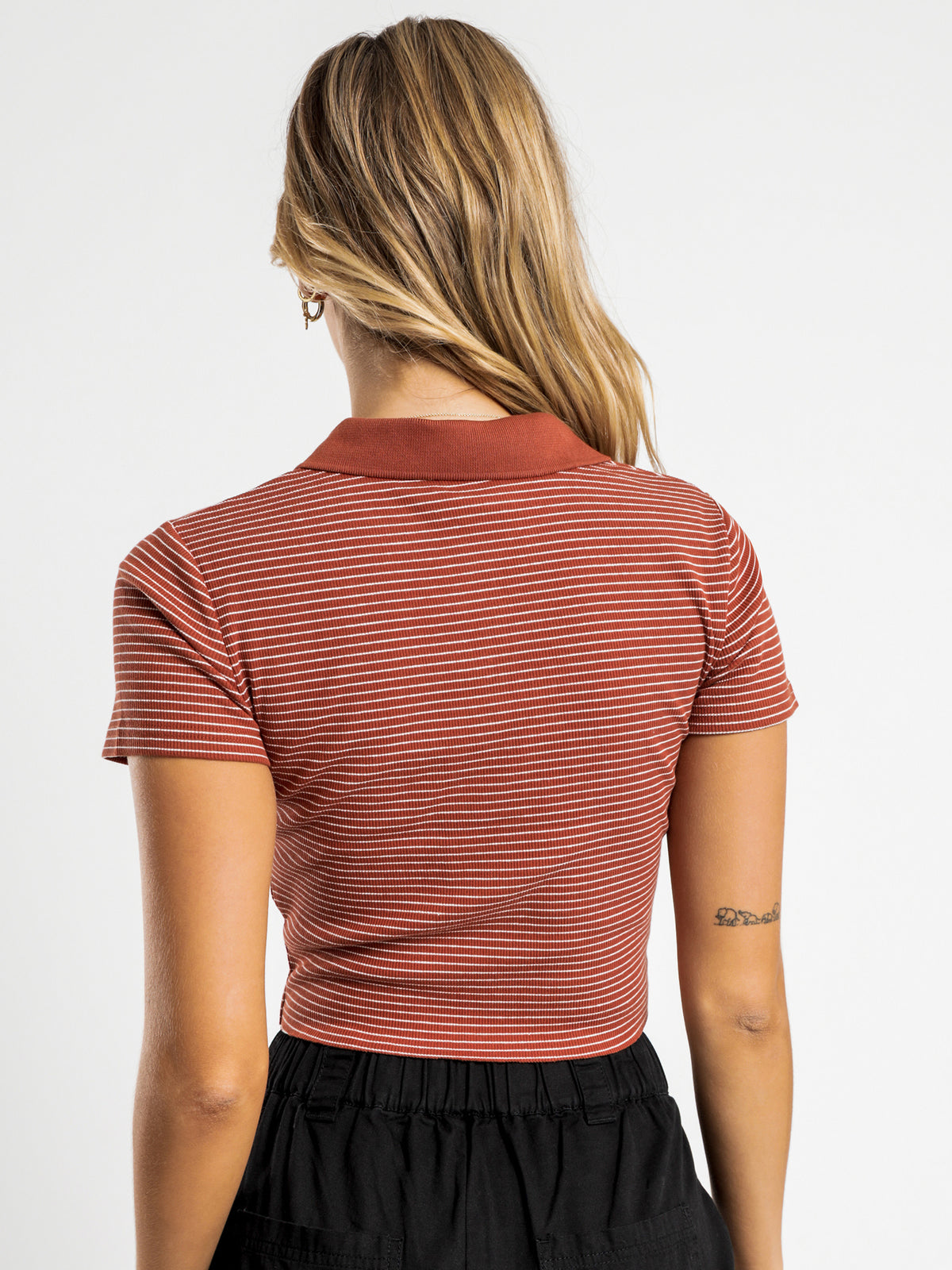 Markham Rib T-Shirt in Rust Stripe