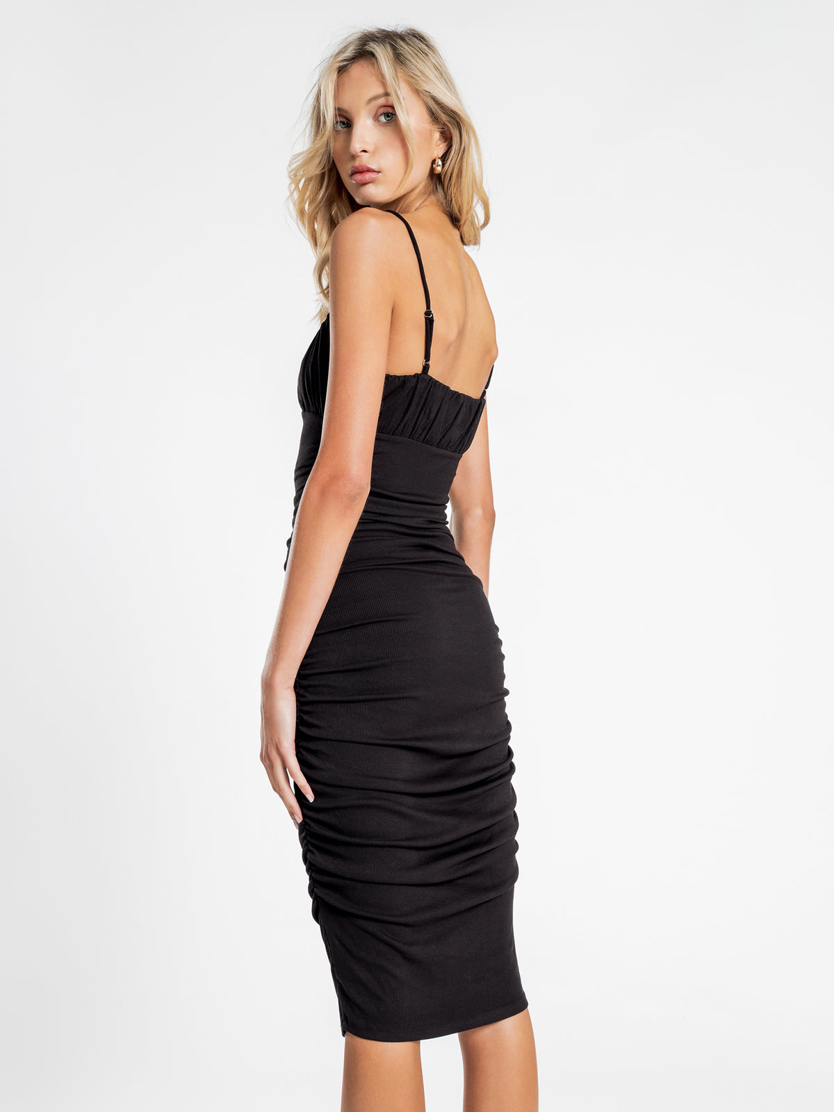 Stella Ruched Midi Dress in Black
