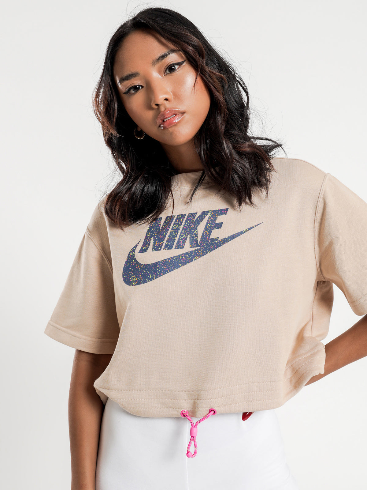 Icon Clash Short Sleeve Sweat in Fire Pink & Shimmer