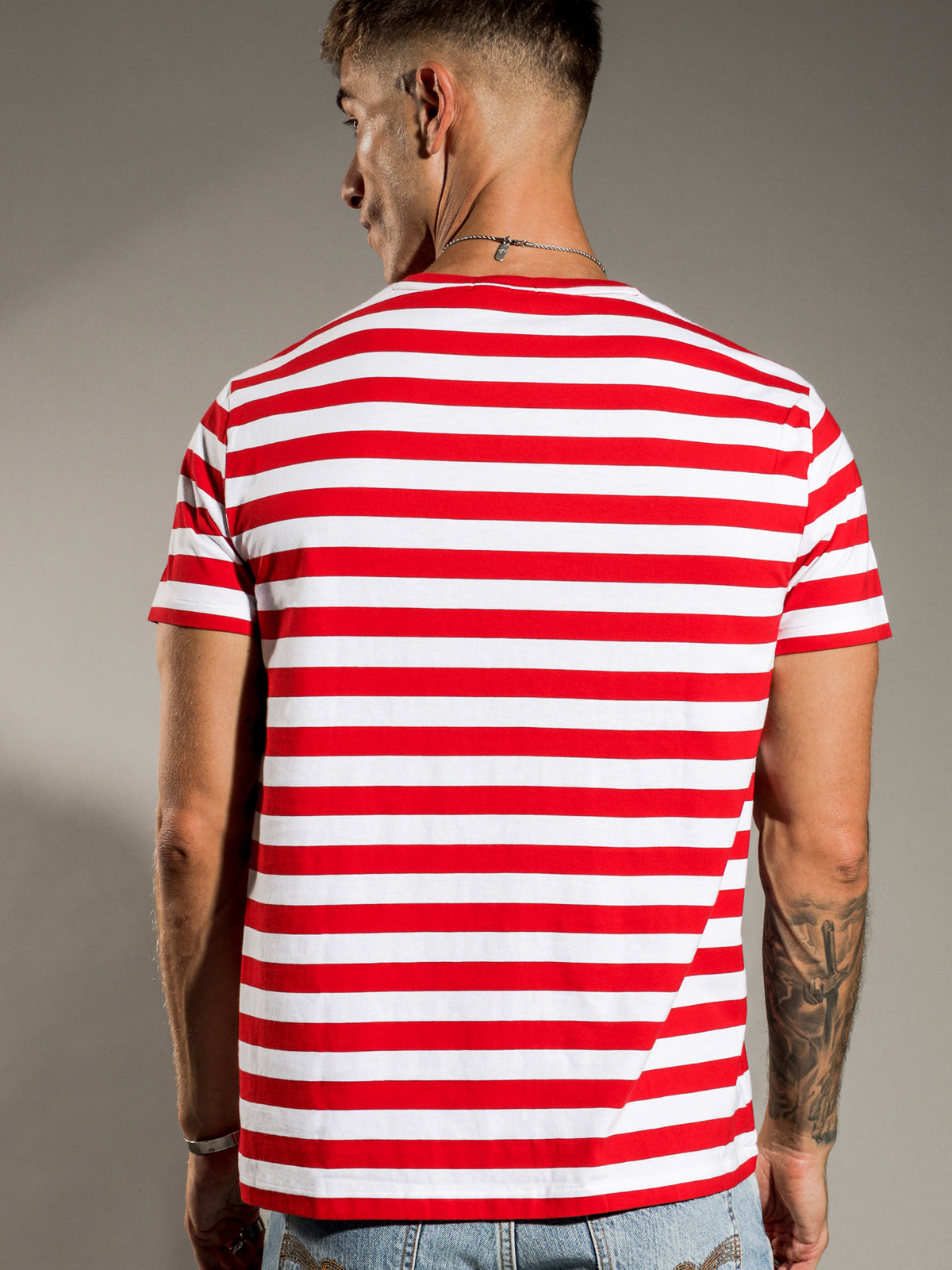 Bold Striped T-Shirt in Red & White