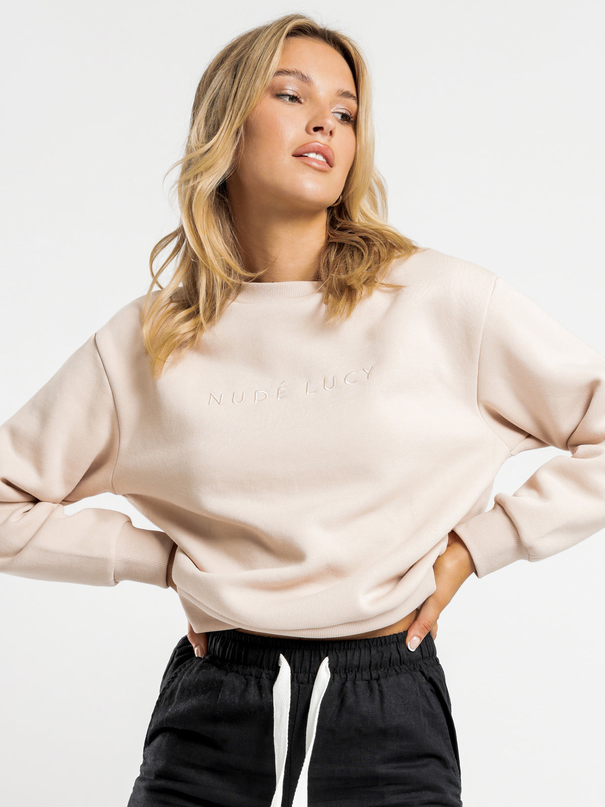 Nude Lucy Embroidery Sweater in Blush