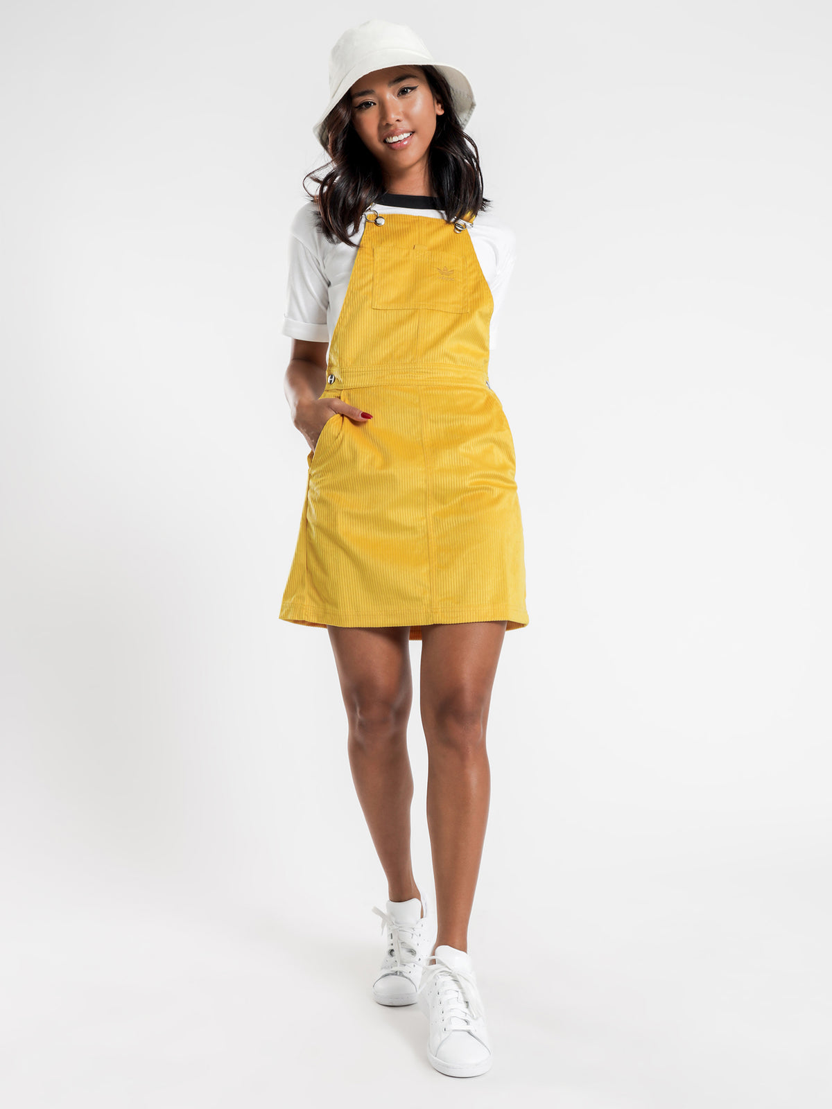 Dungaree Dress in Corn Yellow