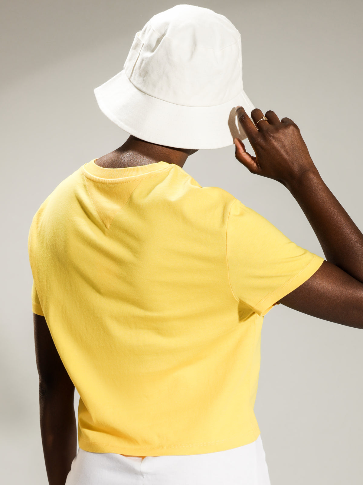 TJW Modern Linear Logo T-Shirt in Star Fruit Yellow
