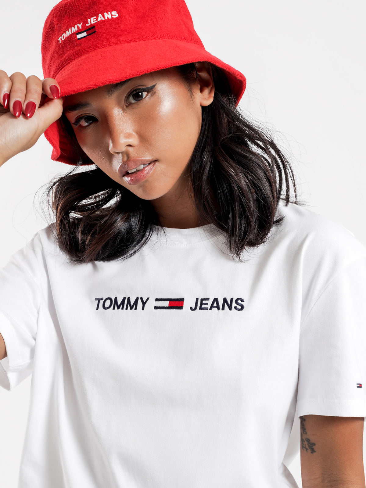 Modern Linear Logo T-Shirt in White