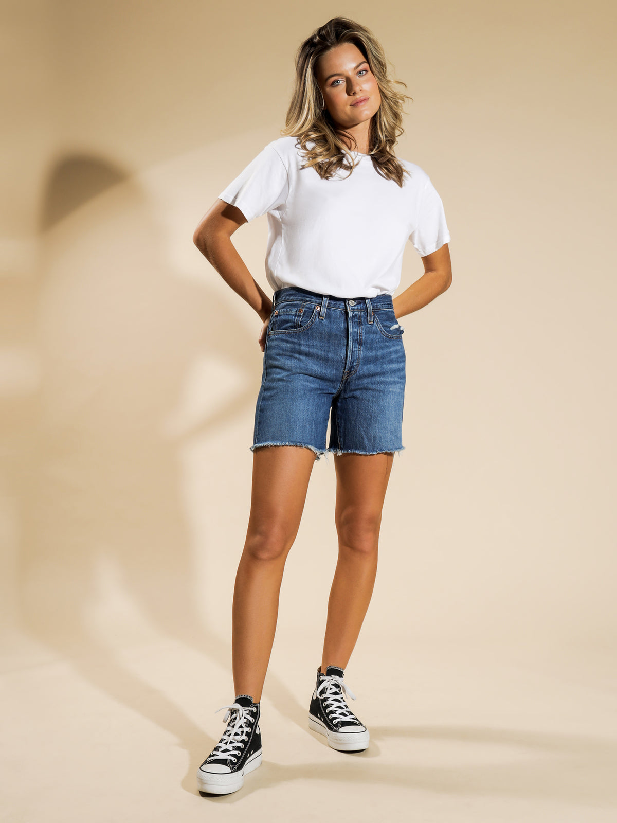 501 Mid Thigh Denim Shorts in Sansome Avenue Blue