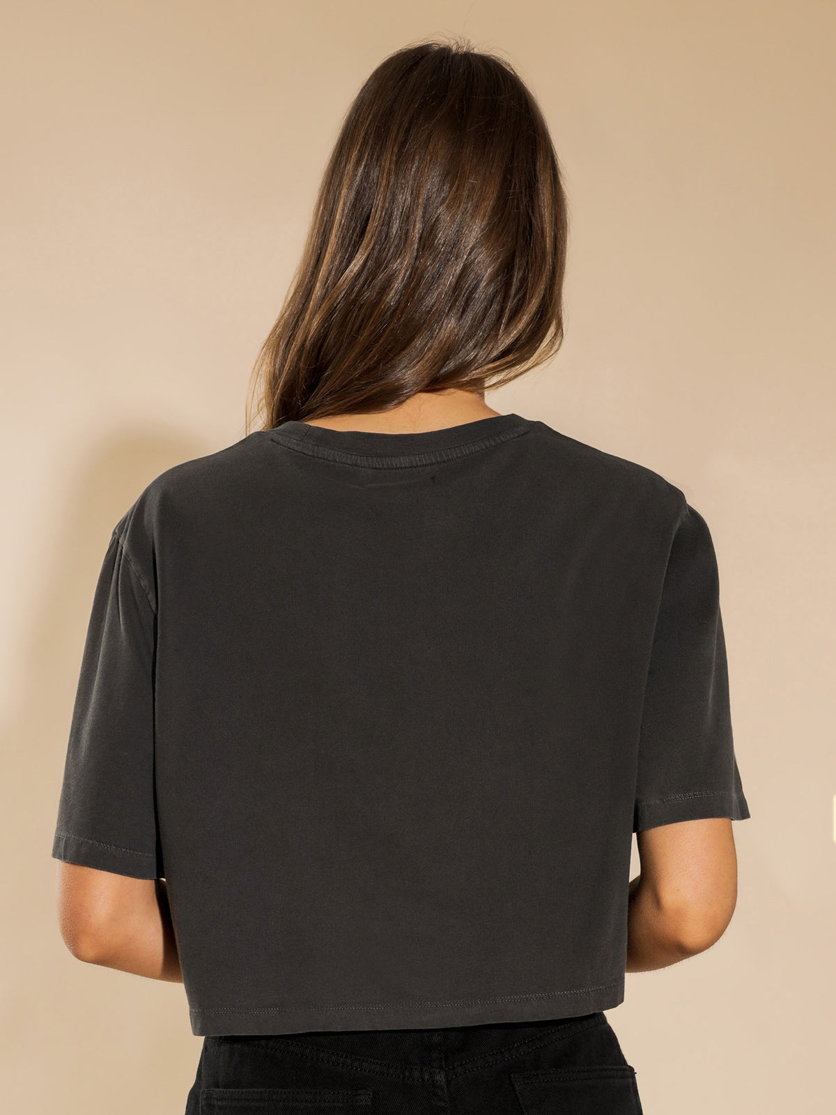 Lucky Guy Crop T-Shirt in Washed Black
