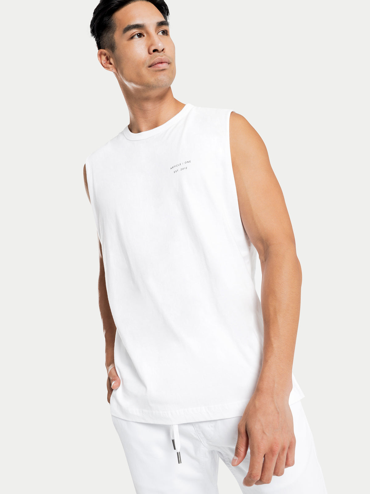 Micro Logo Muscle T-Shirt in White