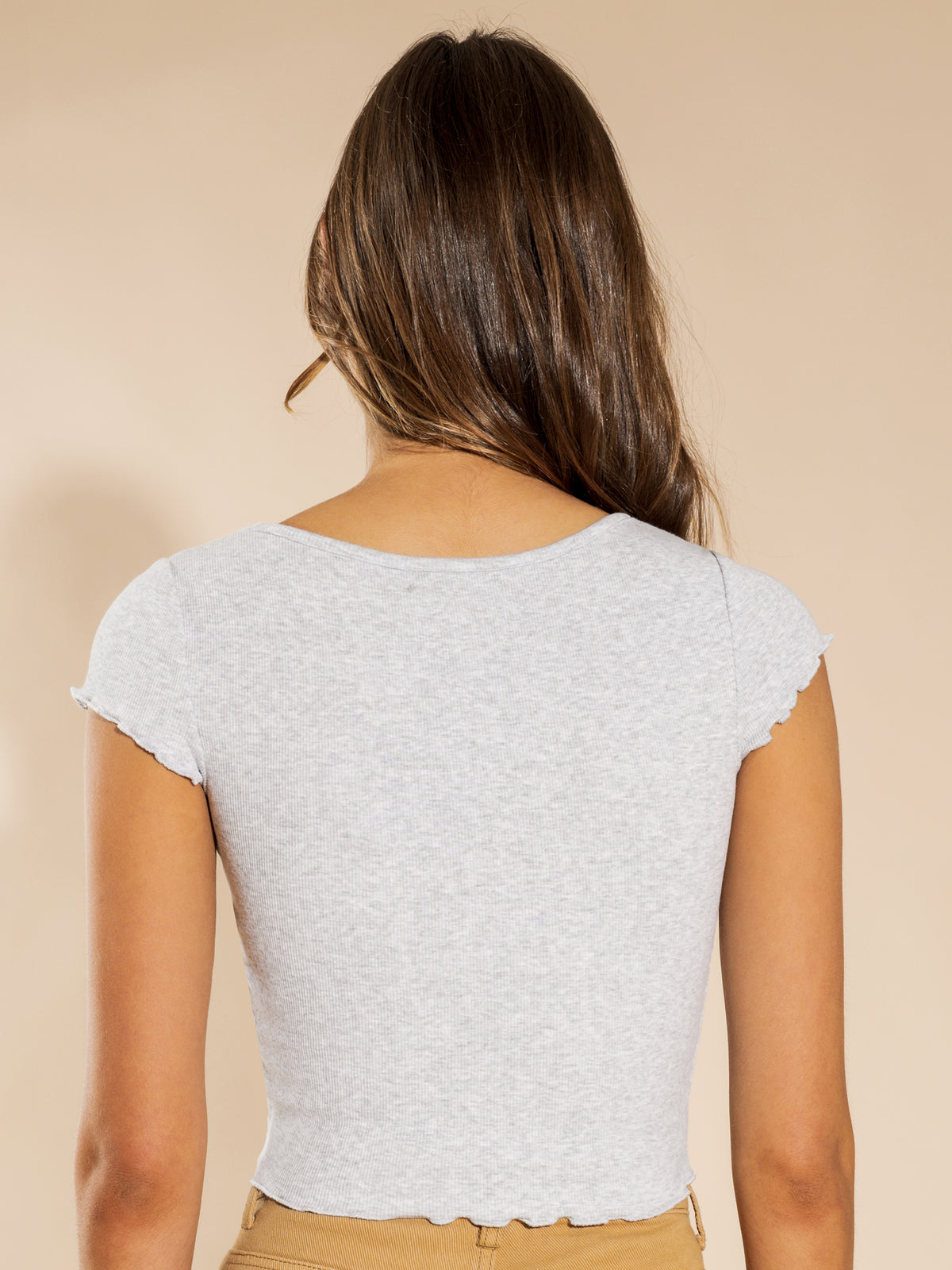 Freya Ruched Front T-Shirt in Grey Marle