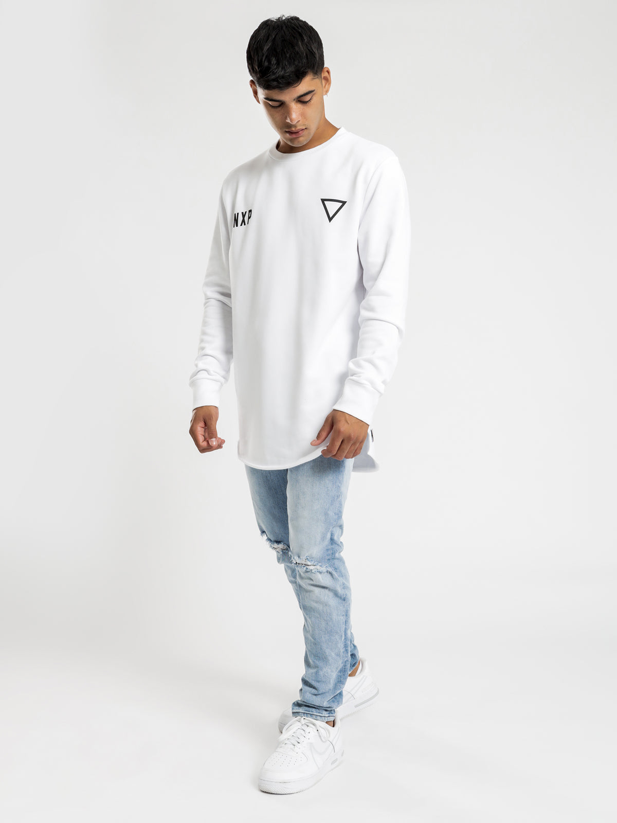 Cat Skills Baseball Sweater in White