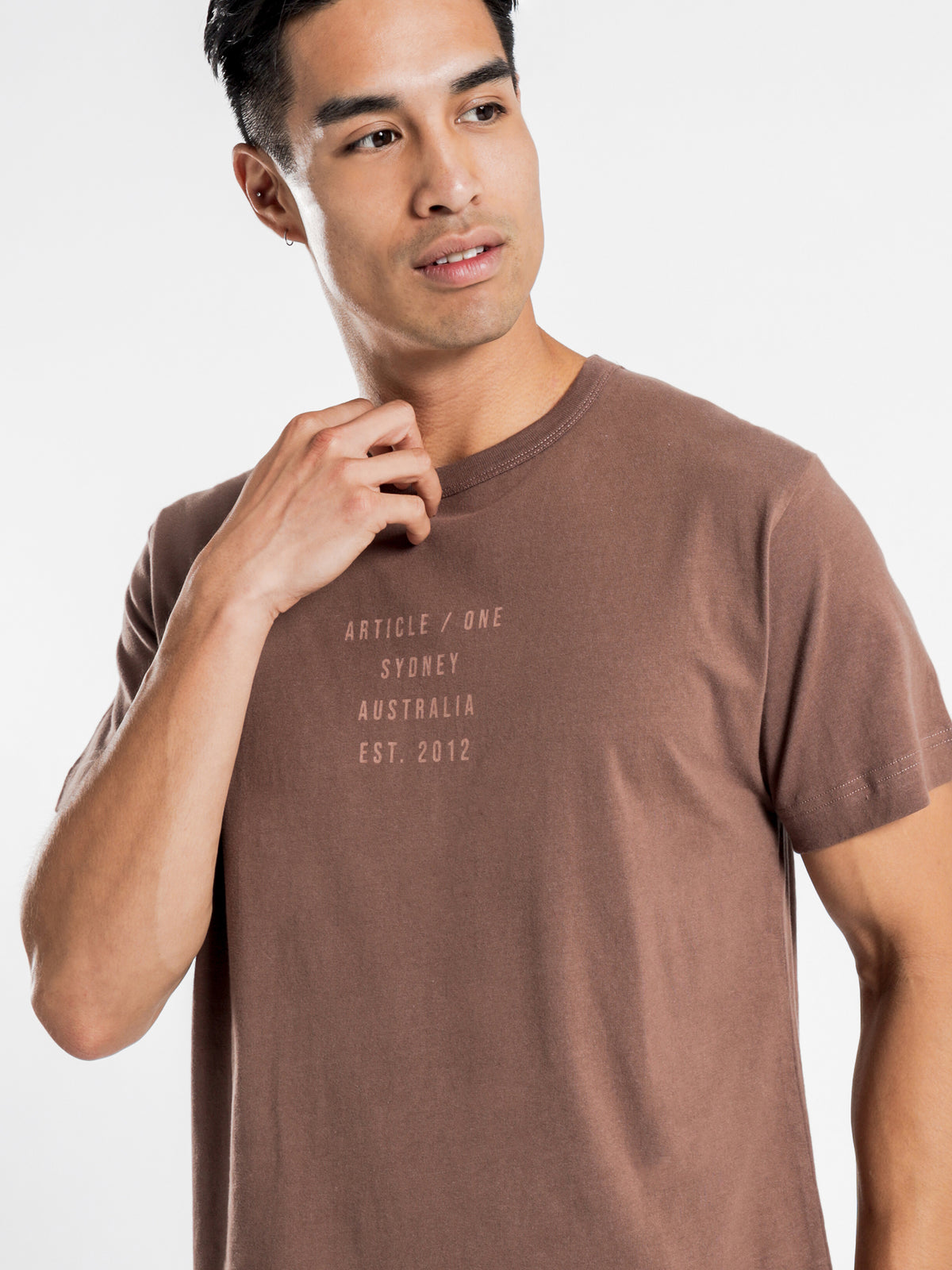 Short Sleeve College Script T-Shirt in Fresco