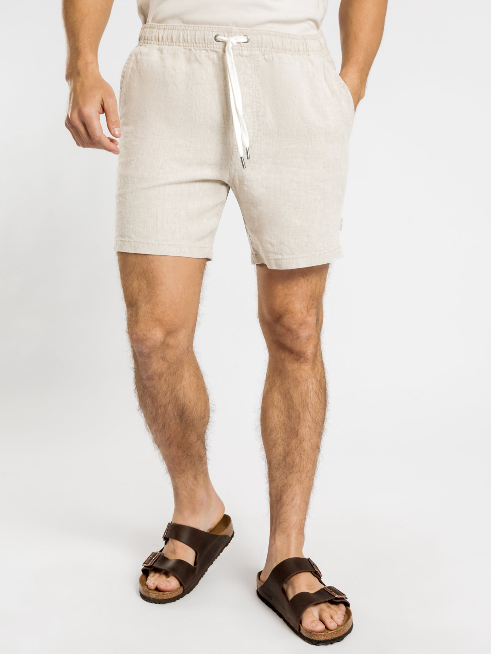 Nelson Shorts in Natural Marle Linen