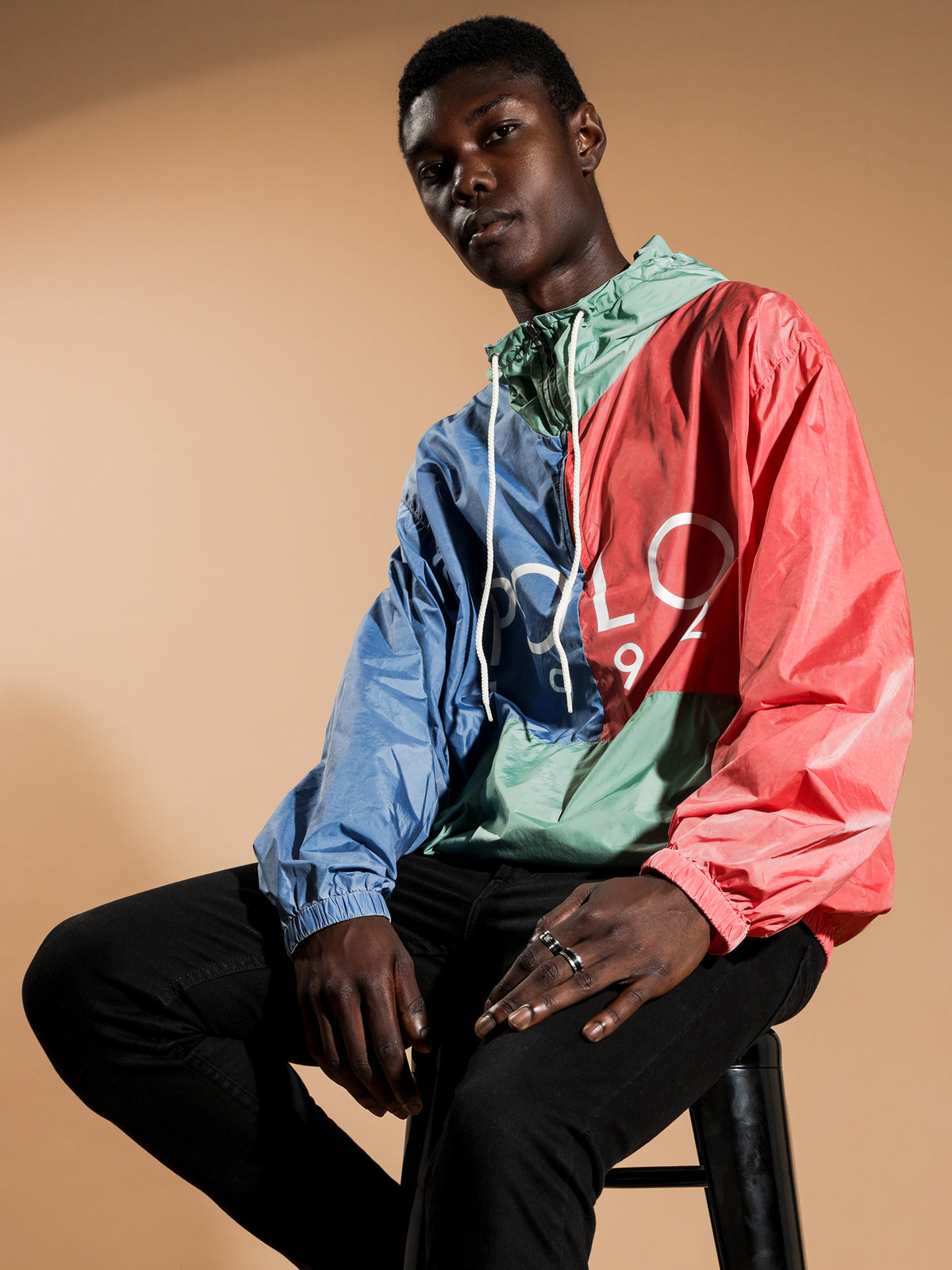 Paneled Hoodie Windbreaker in Blue, Green & Red