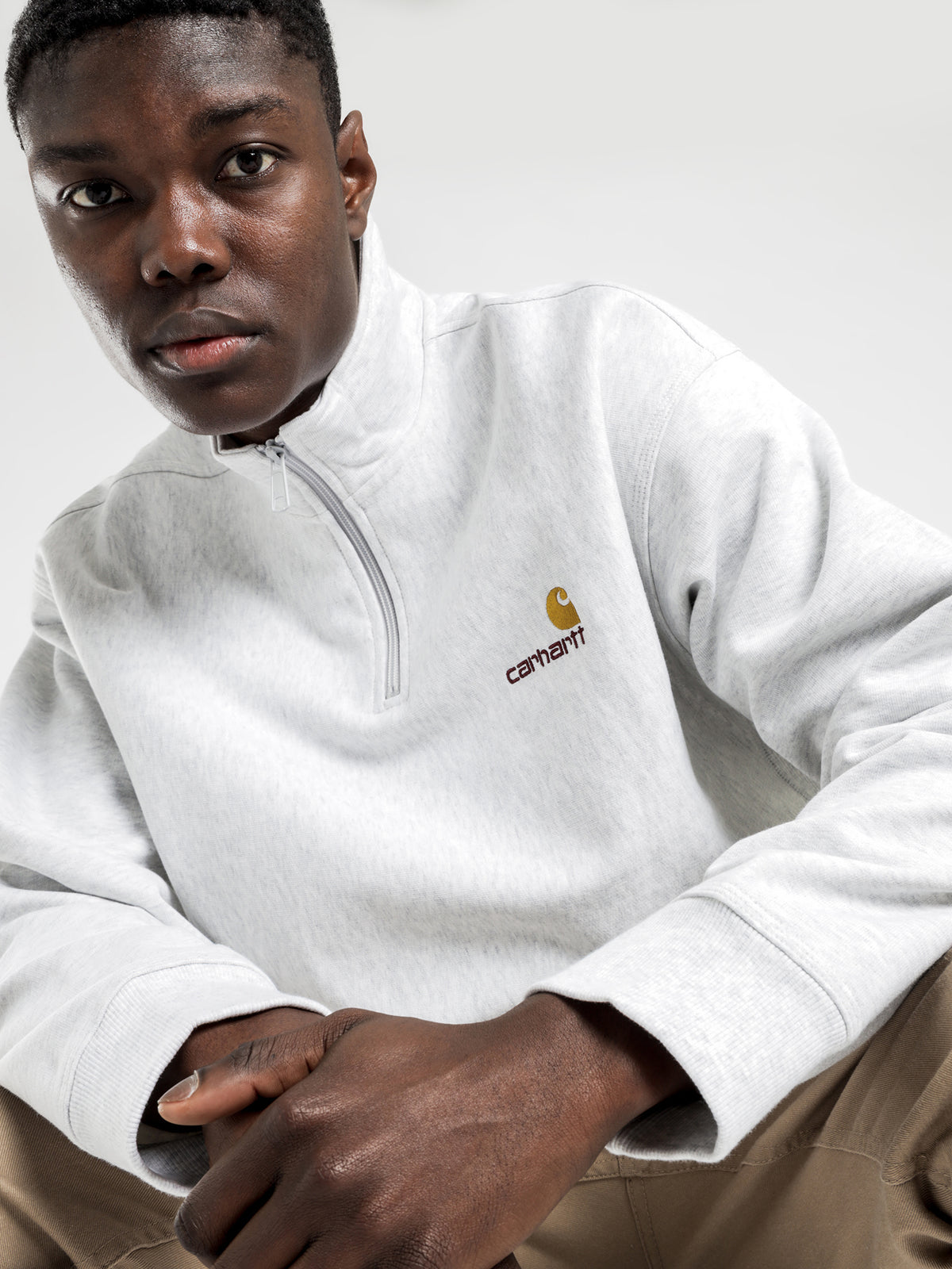 Half Zip American Script Sweat in Ash Heather