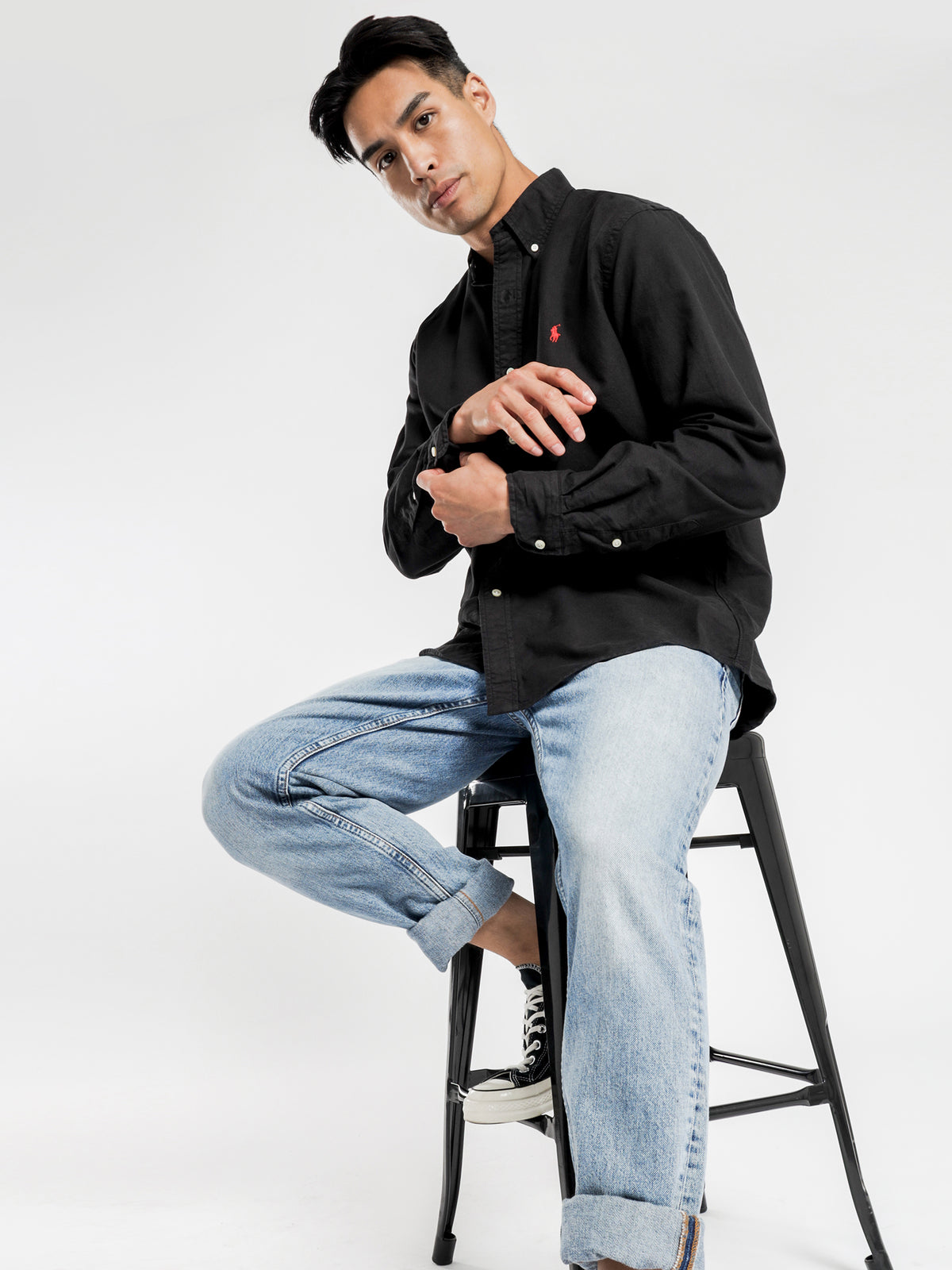 Long Sleeve Embroidered Shirt in Black