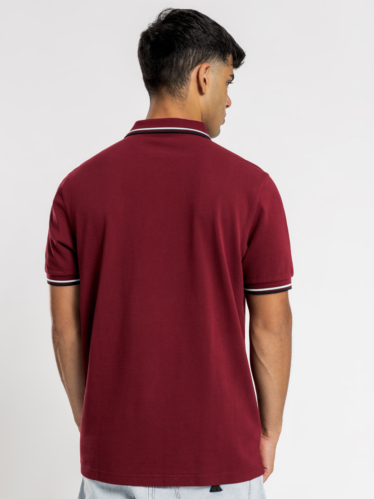 Twin Tripped Fred Perry Shirt in Burgundy