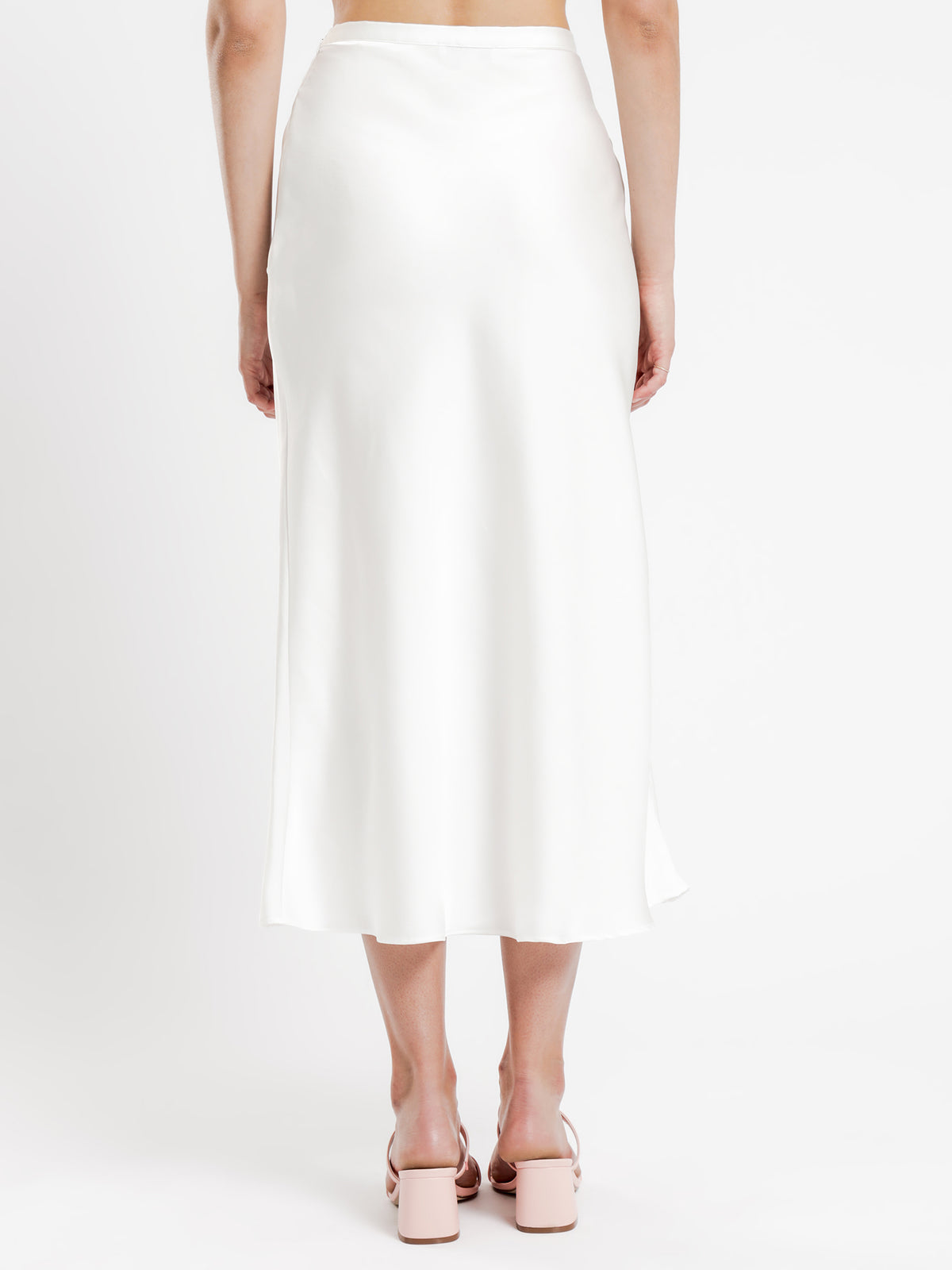Leonie Satin Midi Skirt in Shell White