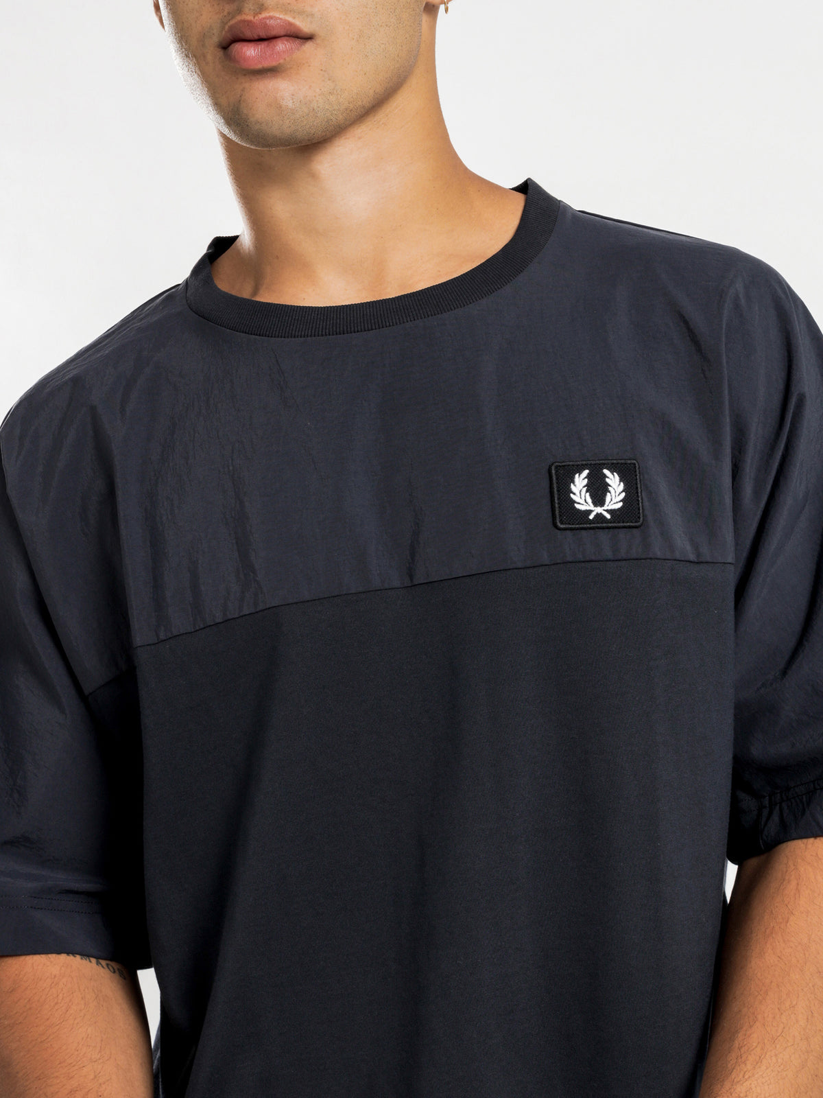 Woven Panel T-Shirt in Navy