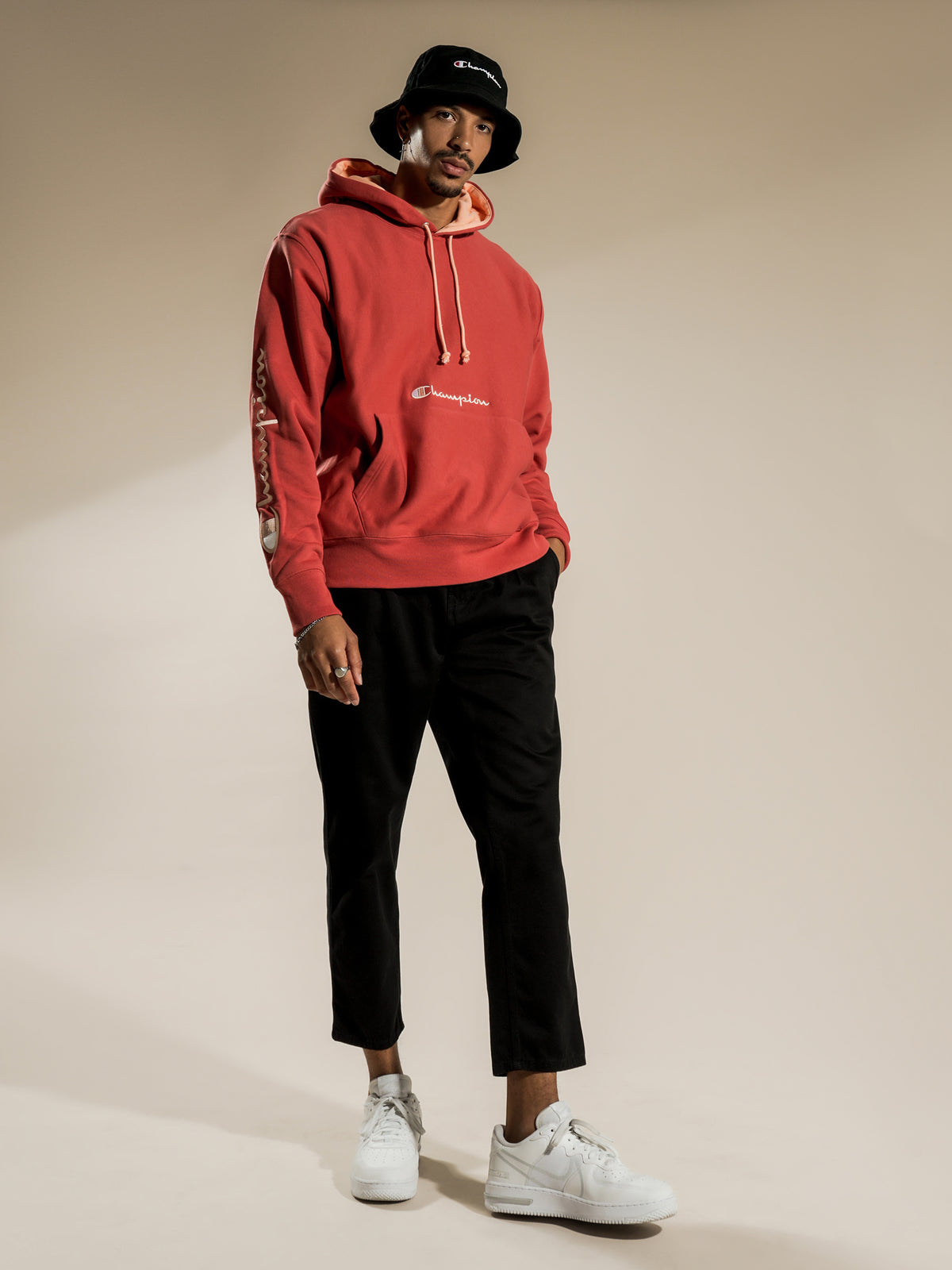 Reverse Weave French Terry Script Hoodie in Picante Pink