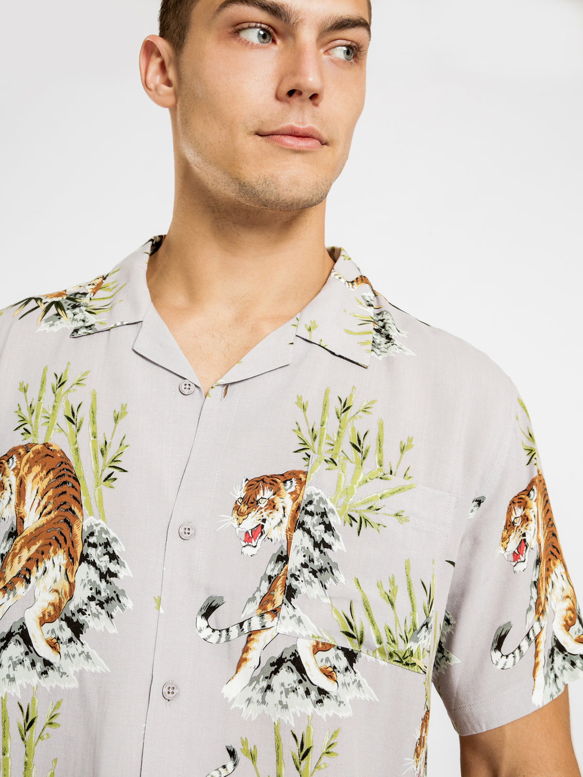 Orient Short Sleeve Shirt in Mauve Tiger Print