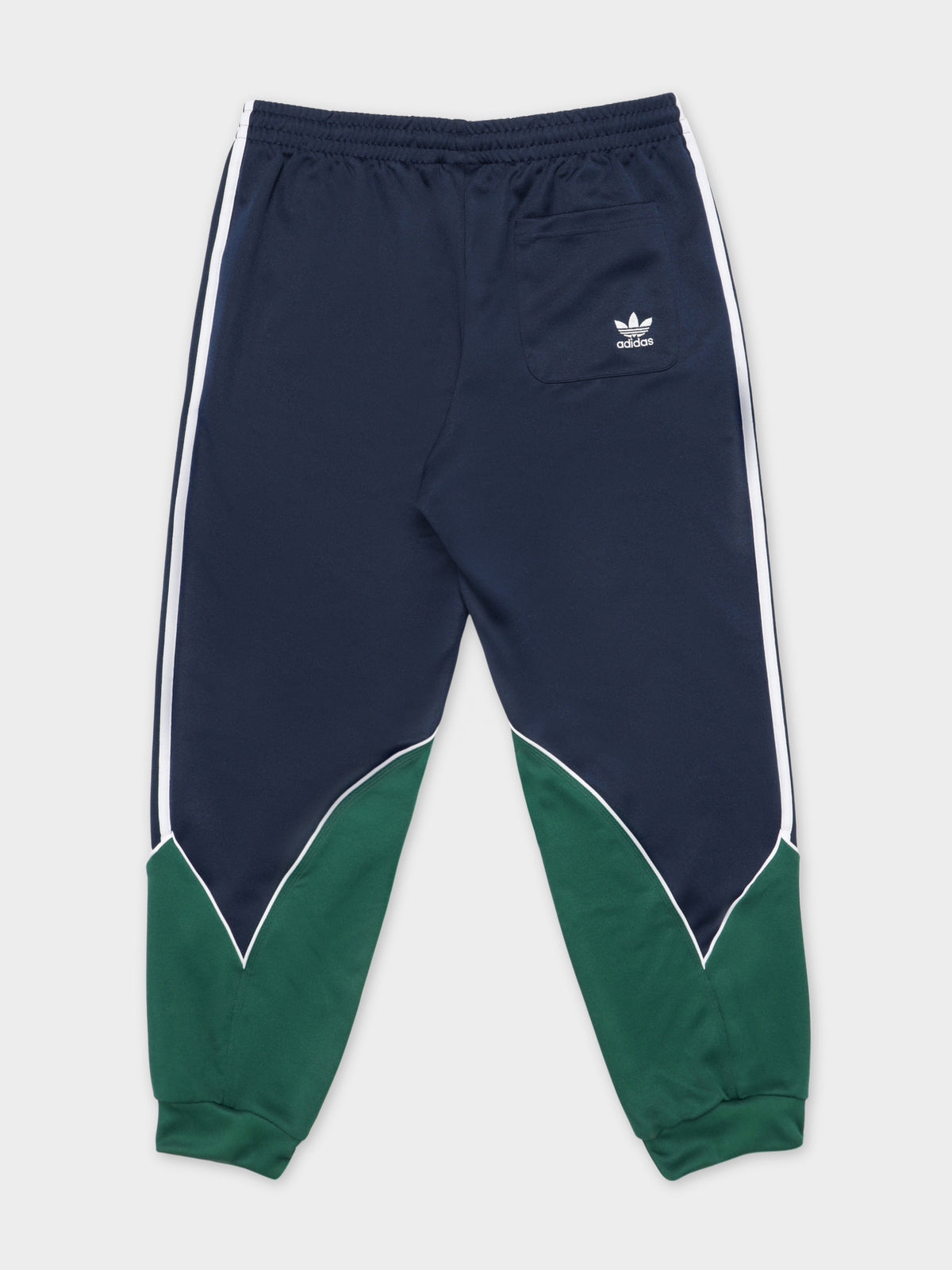 Big Trefoil Abstract Track Pants in Collegiate Navy, Dark Green & White
