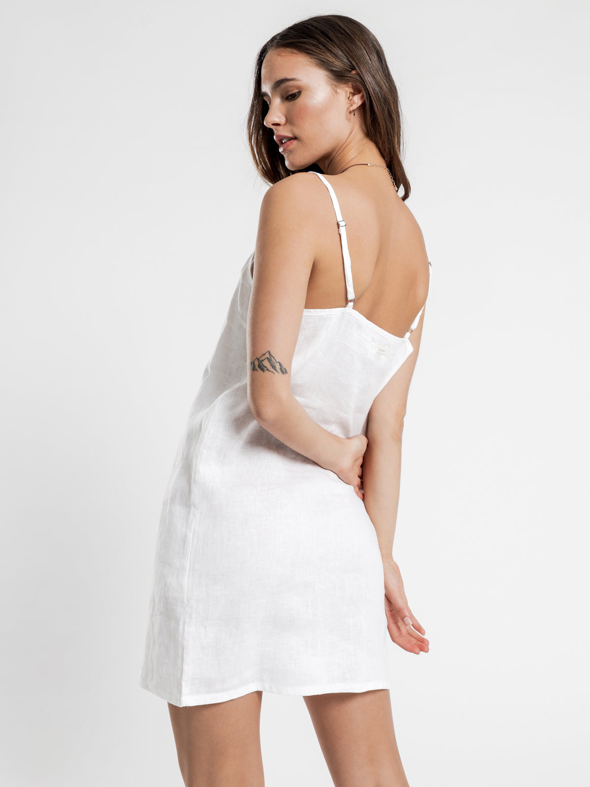 Linen Lounge Dress in White
