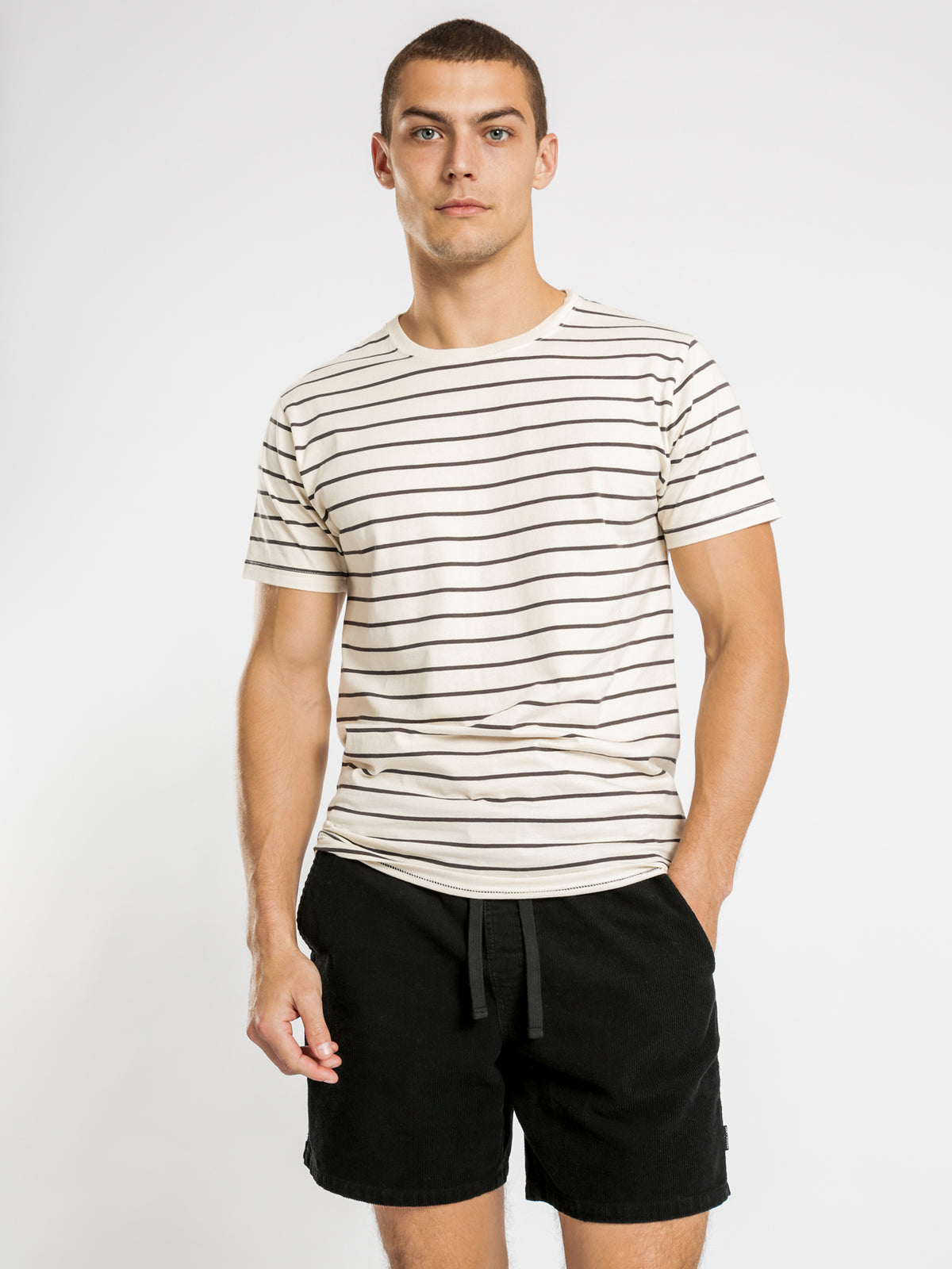 Casper Stripe T-Shirt in Stone