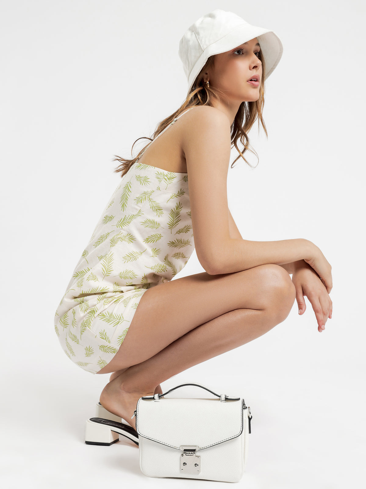 Dillion Print Mini Dress in Creme & Green