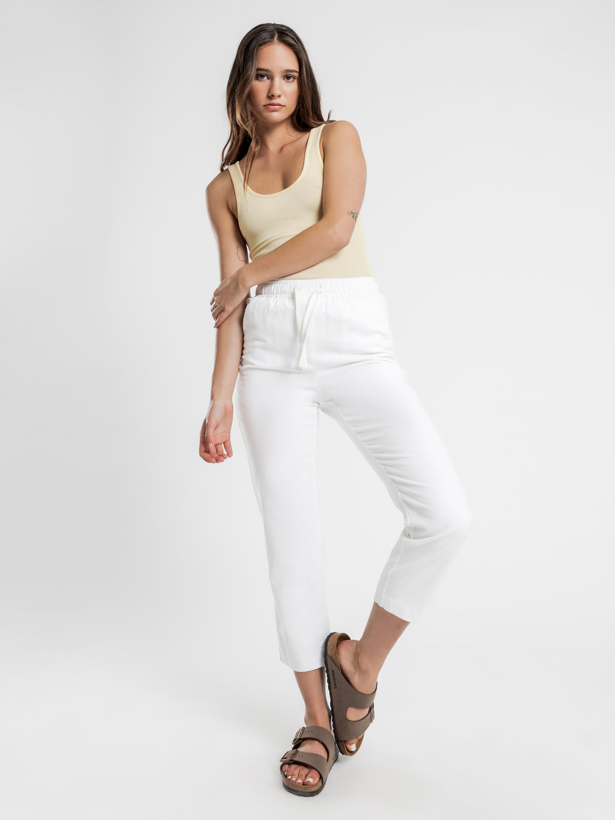 Maya Long Line Rib Tank in Butter