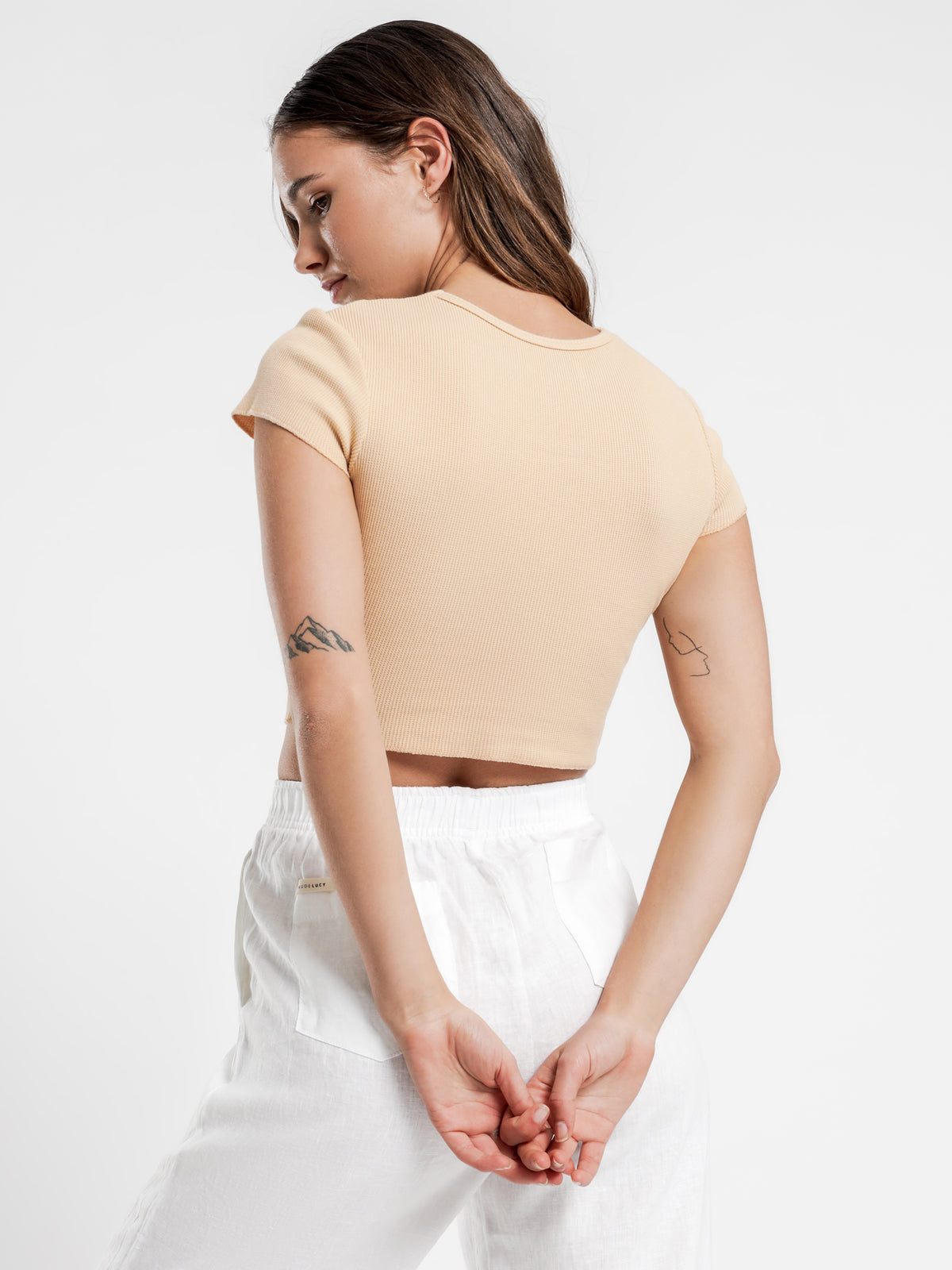 Cameron Basic Waffle T-Shirt in Apricot