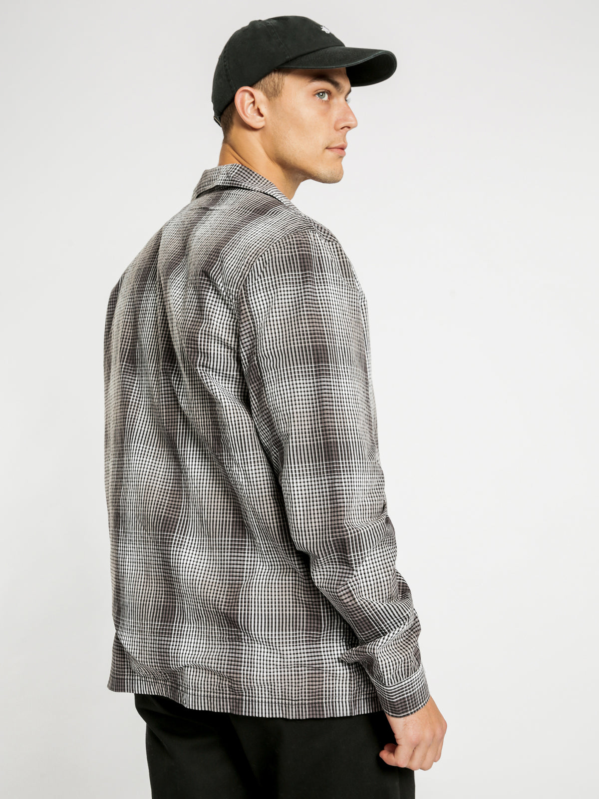 Neat Check Zip Up Long Sleeve Shirt in Black