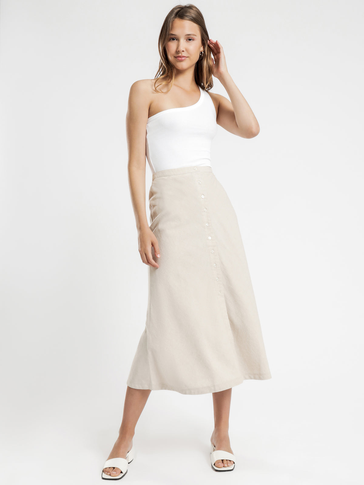 Drew Linen Midi Skirt in Oat