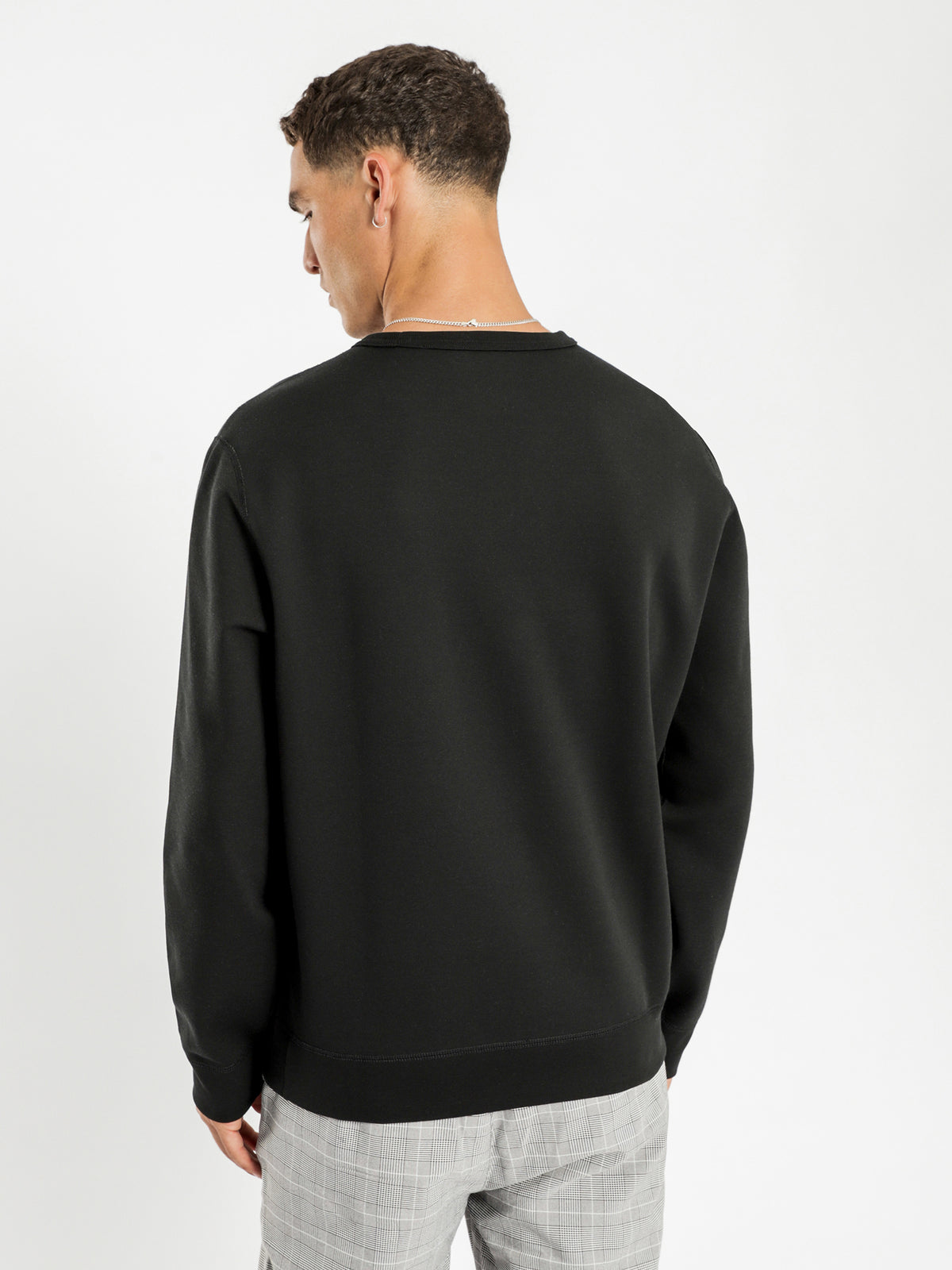 Polo Long Sleeve Crew Knit in Black
