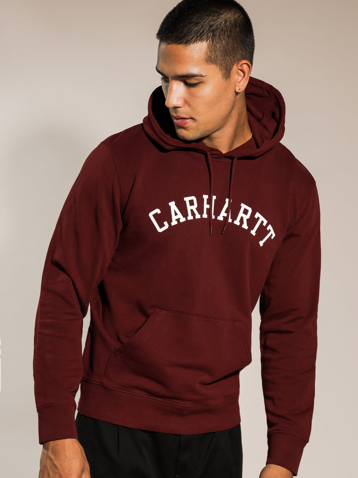 Hooded University Sweat in Bourdeaux Red