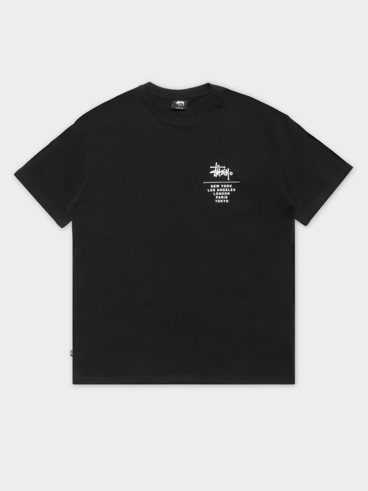 Left Chest City Sack Short Sleeve T-Shirt in Solid Black