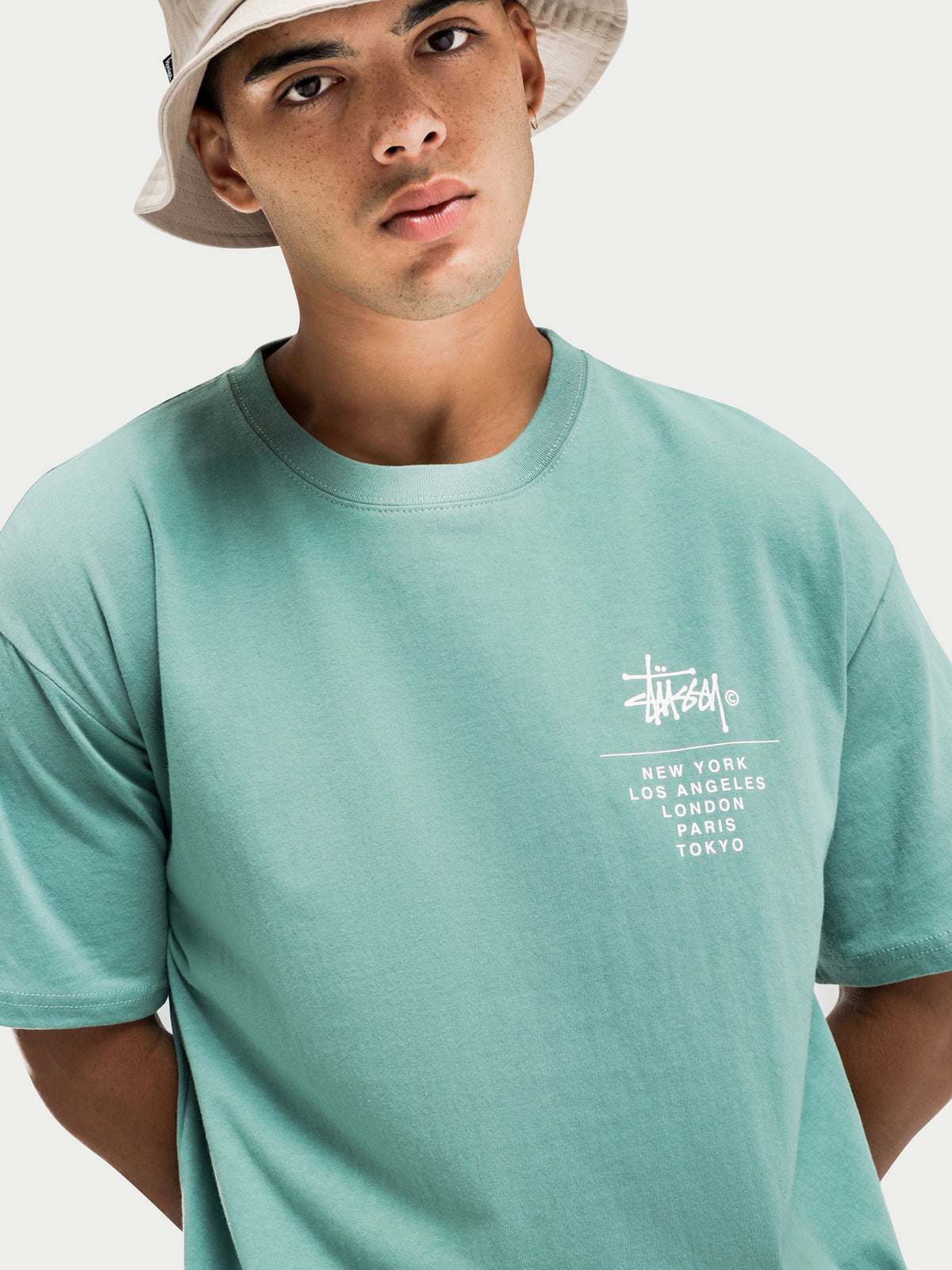 Left Chest City Stack Short Sleeve T-Shirt in Solid Deep Sea